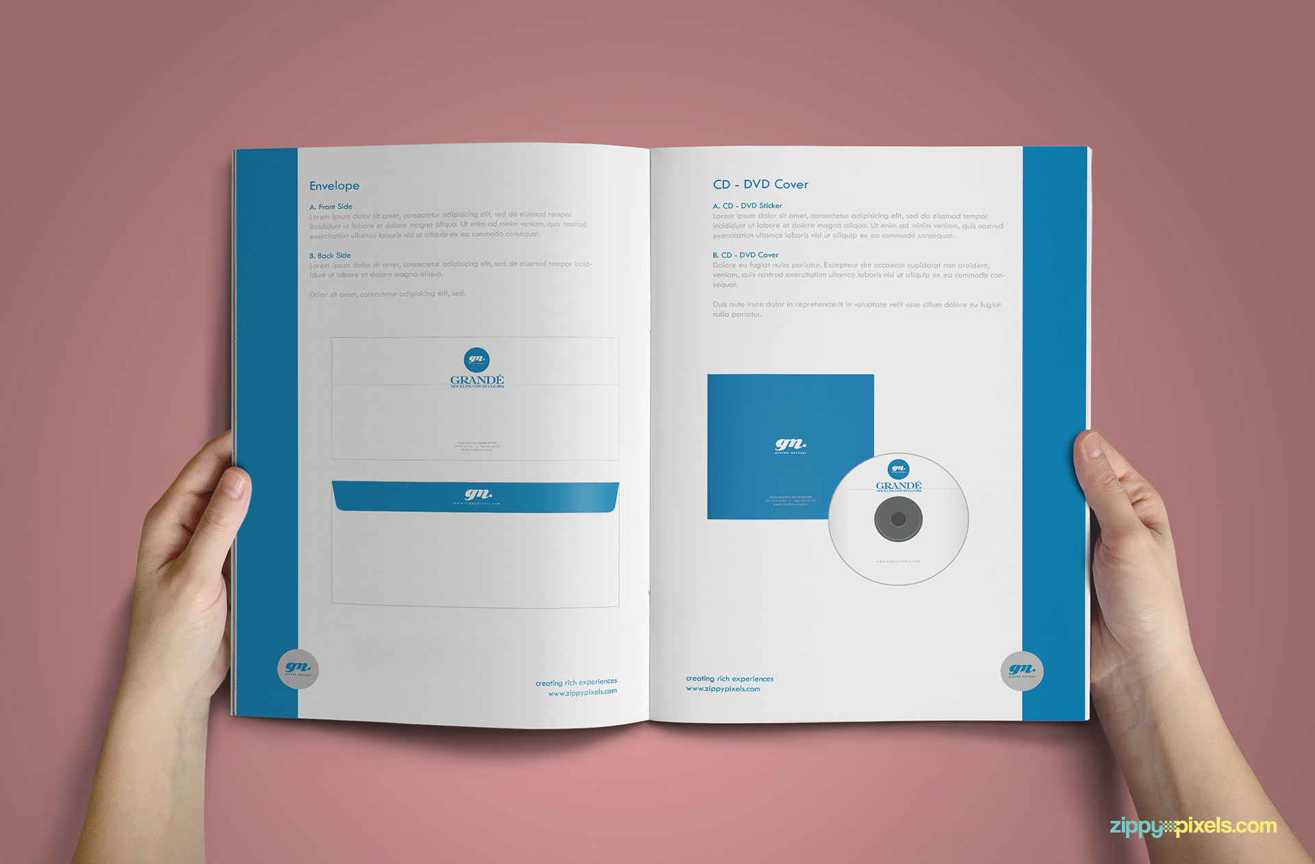 Clean Brand Book Template for Corprate Identity - CD Cover & Envelope