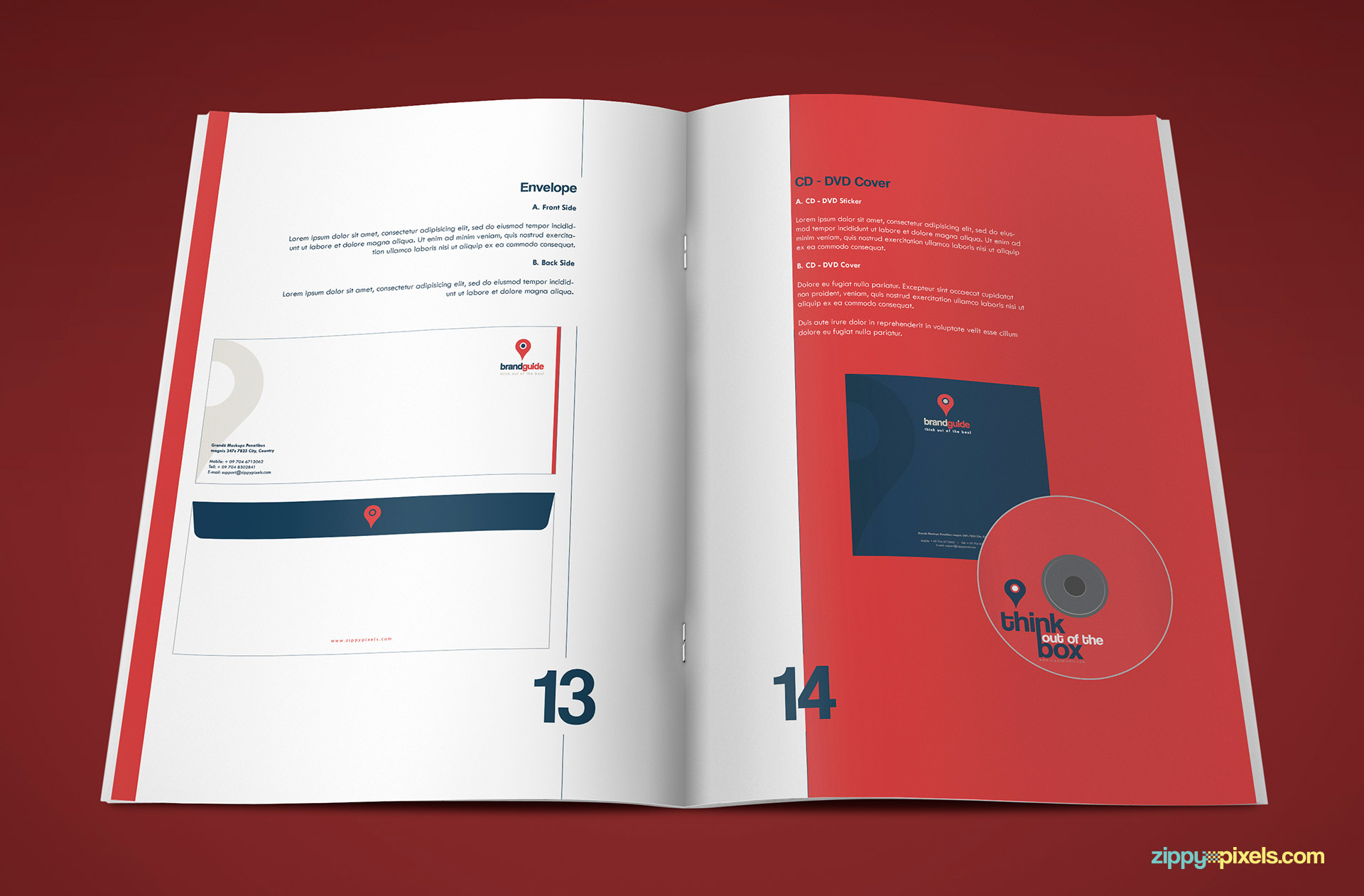 Professional Brand Guidelines Template - Envelope and CD Cover guidelines