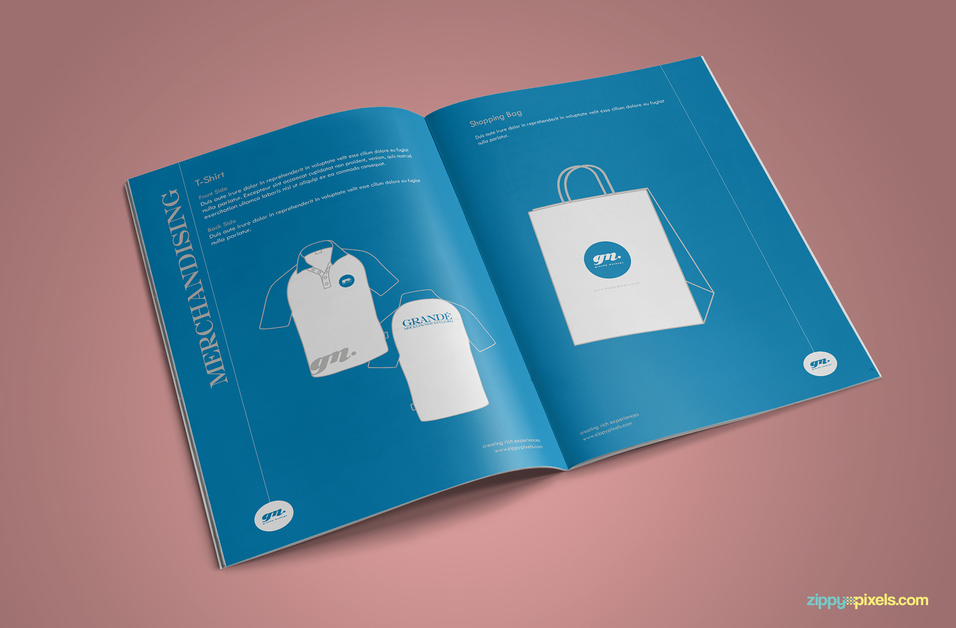Clean Brand Book Template for Corprate Identity - T-shirt & Shopping Bag