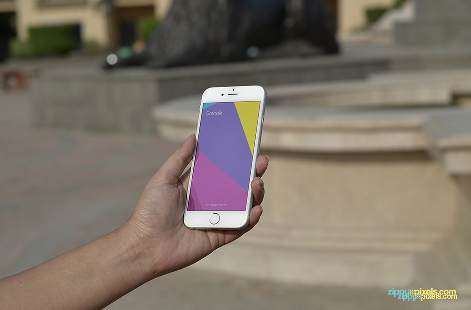 mockup of iphone 6 white portrait background outdoor