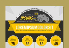 Vehicles – 100% Vector Infographics PSD Template set