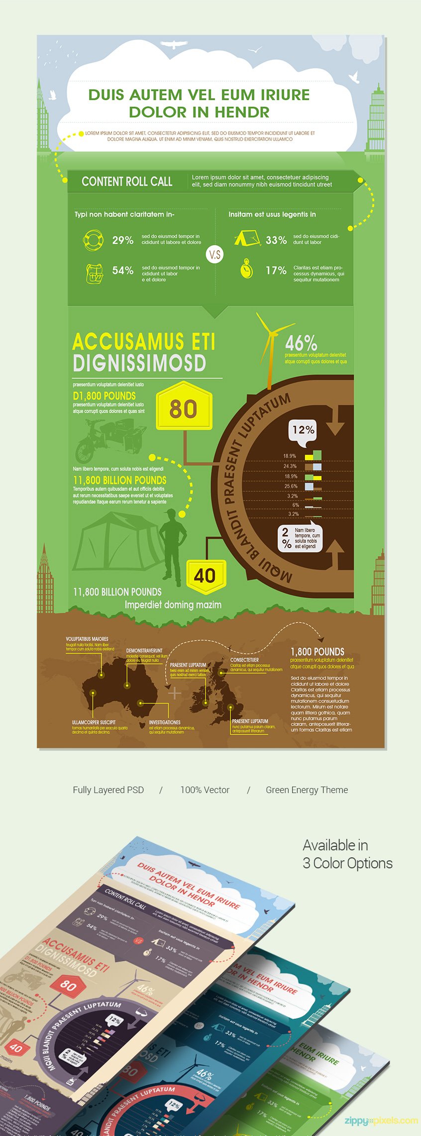 Green-infographics-psd-template