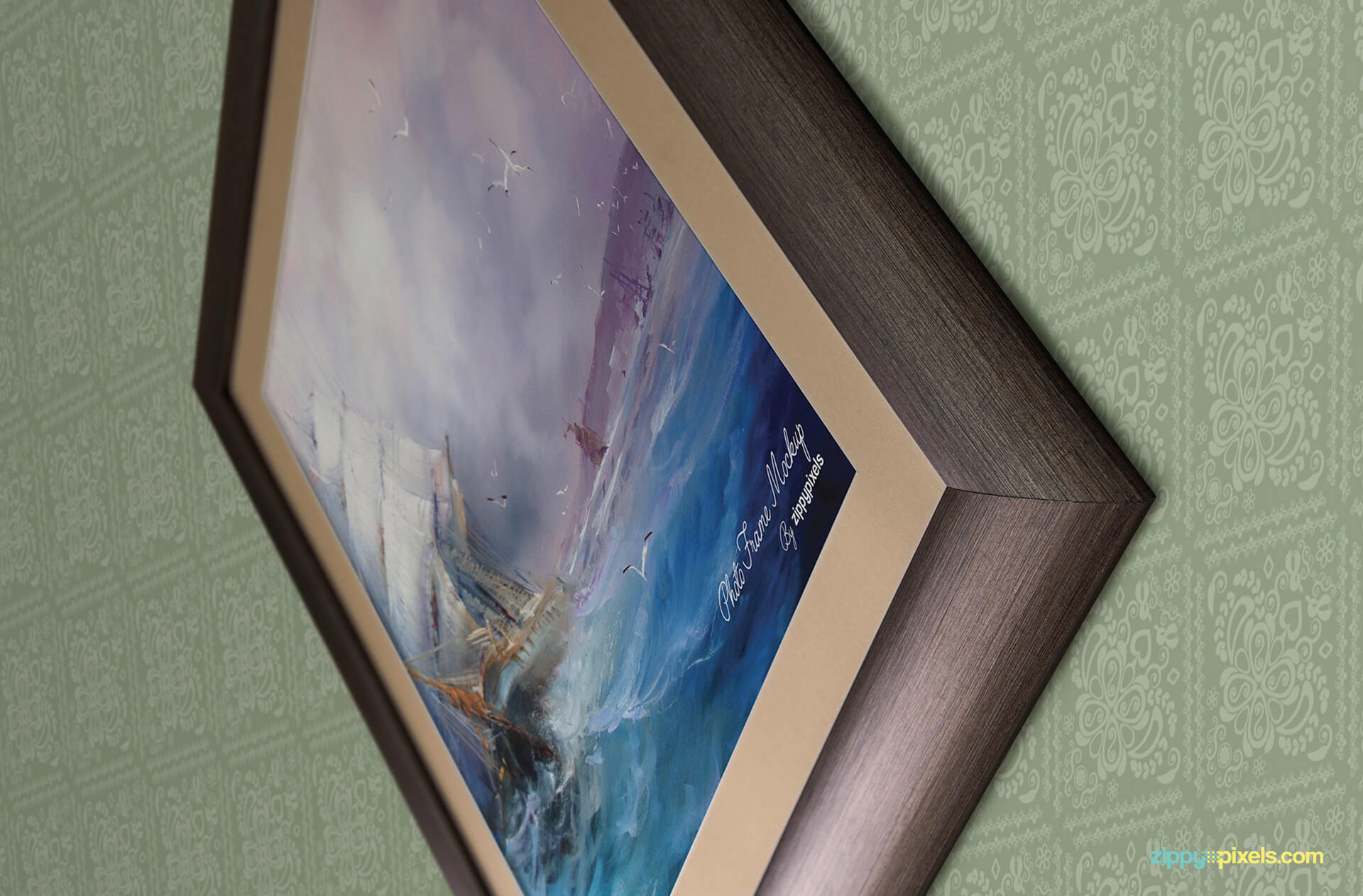 PSD mockup of zoomed in view of photo frame