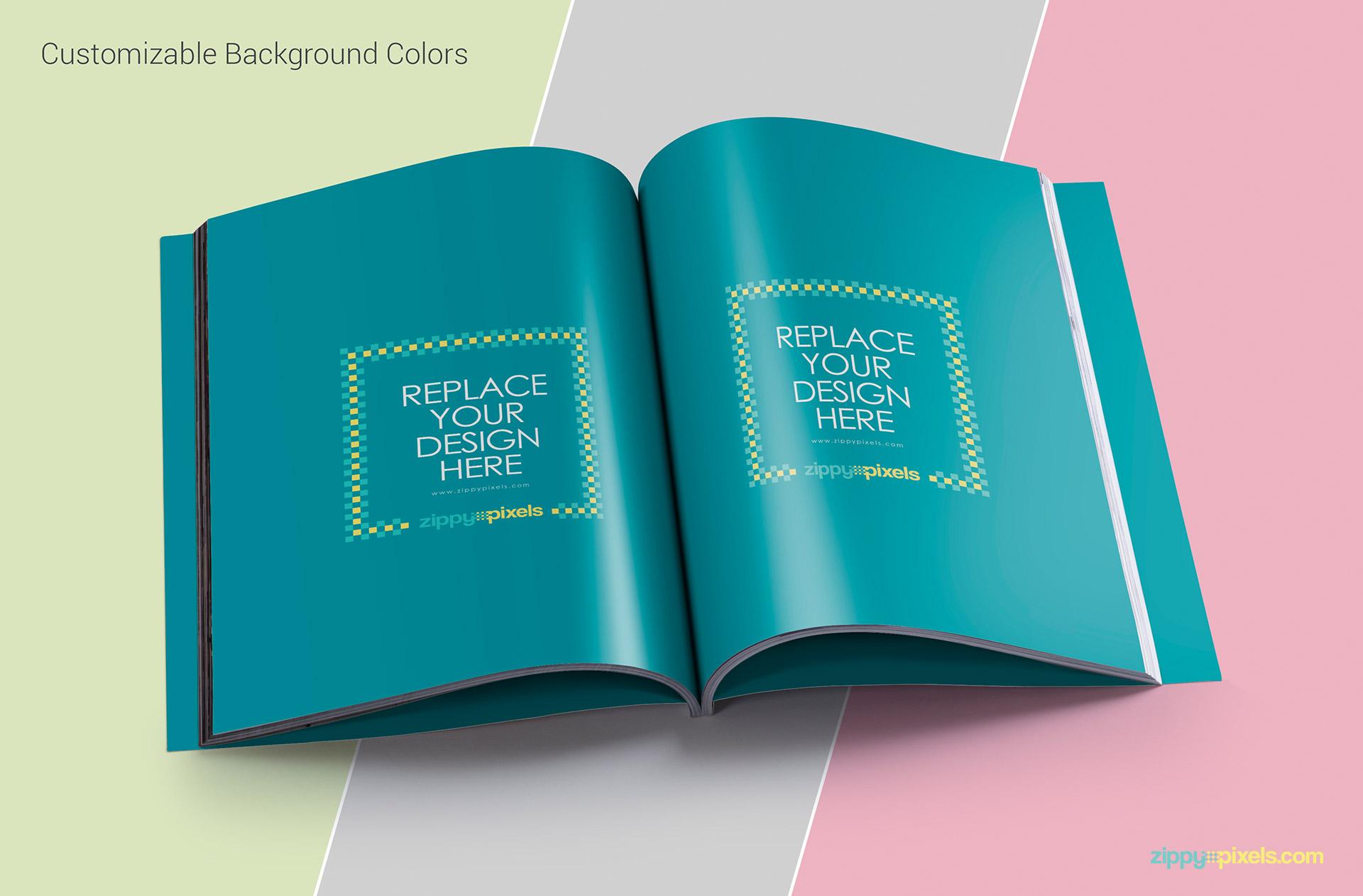 Layered PSD Mockup of Magazine designs - Customizable background