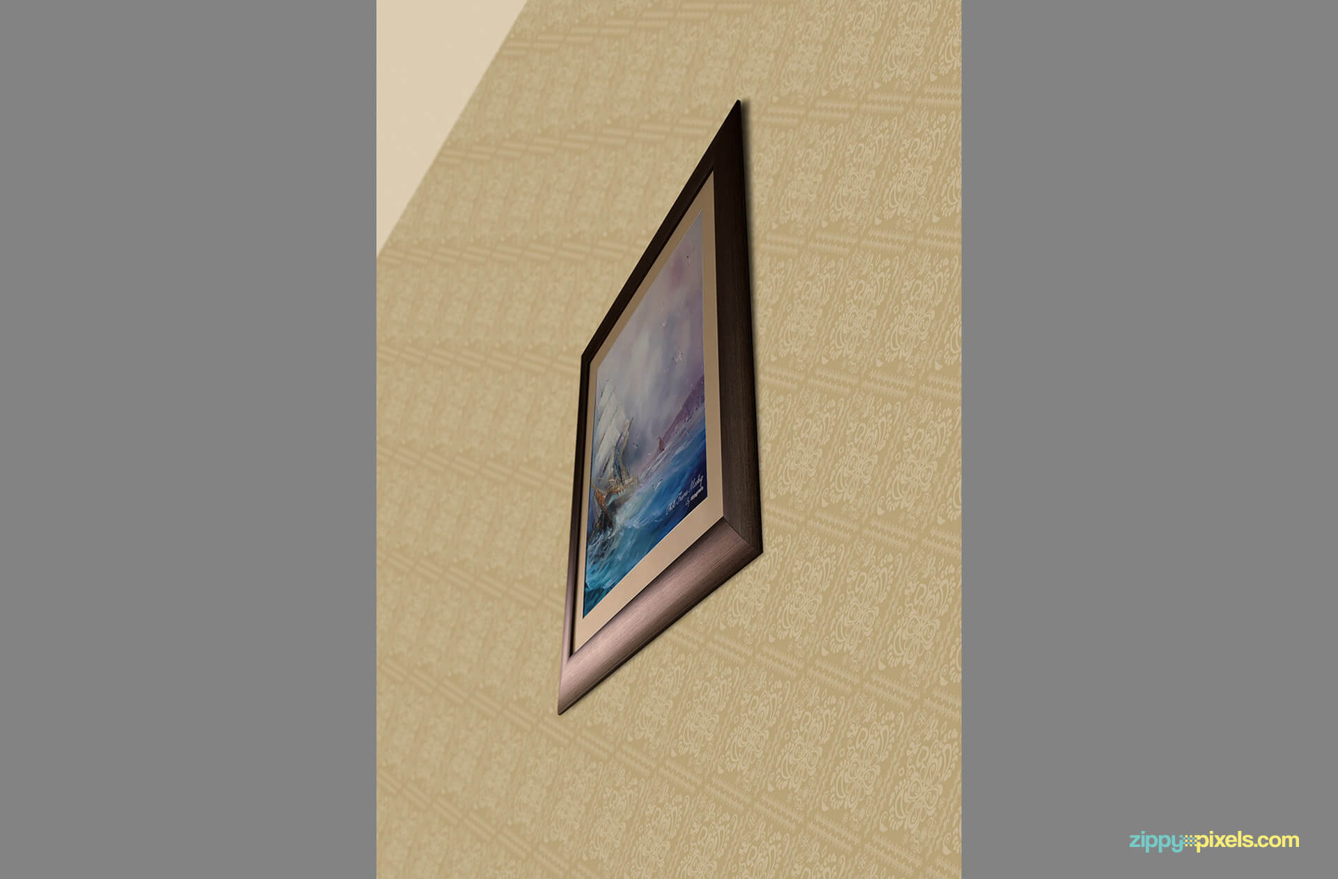 Photorealistic photo frame mockup with editable background