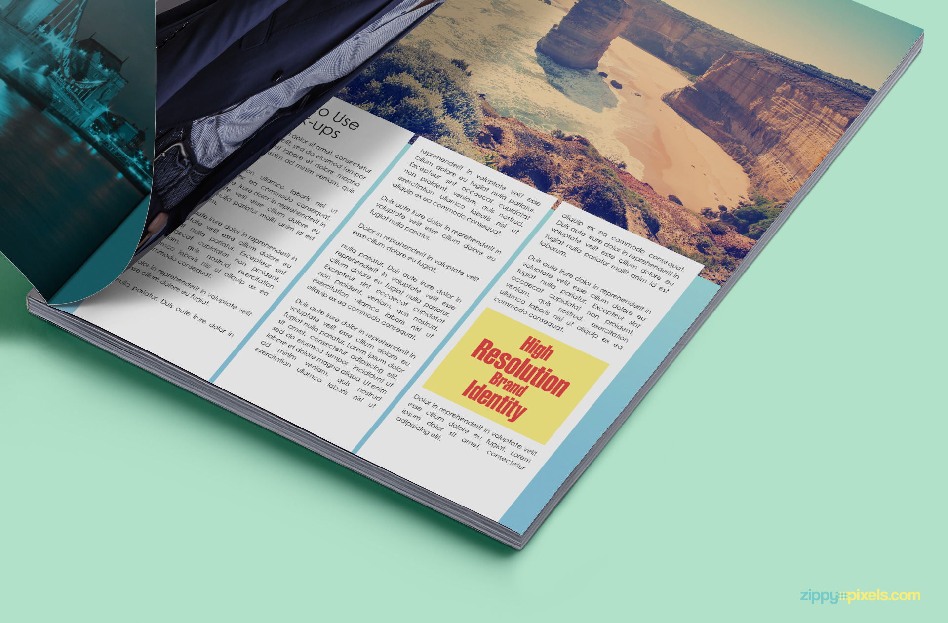 Free PSD mockup showing 3 inner magazine pages