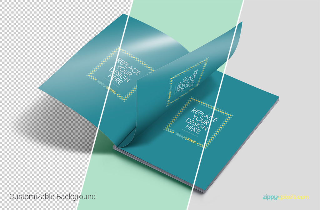 Free magazine ad psd mockup with 3 page smart object and customizable background