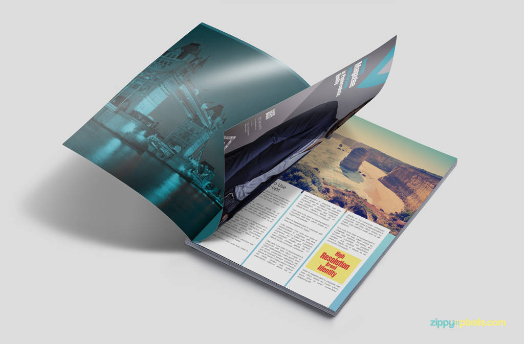 Free PSD mockup showing 3 inner magazine pages grey background