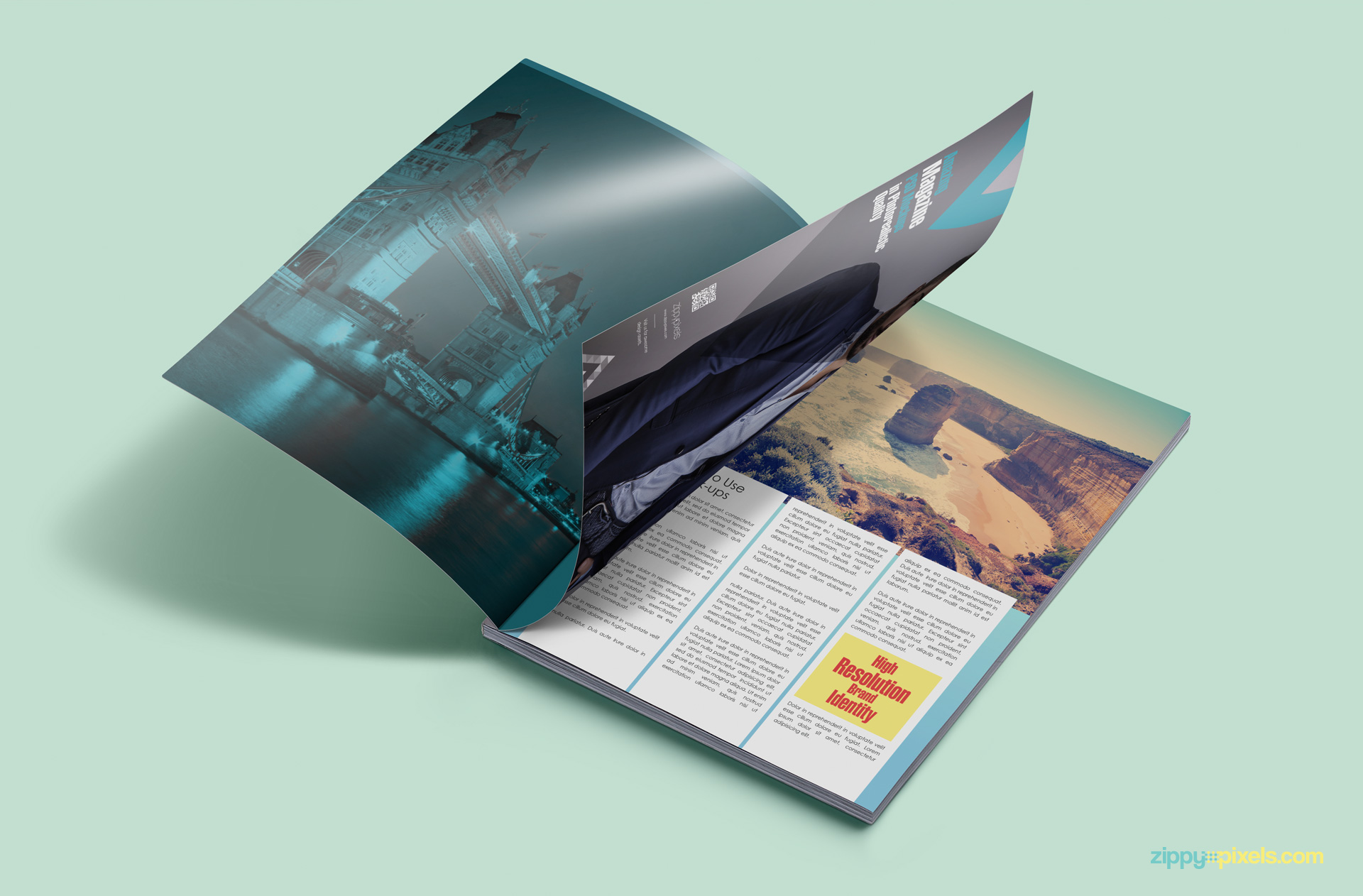 Realistic magazine mockup with customizable background