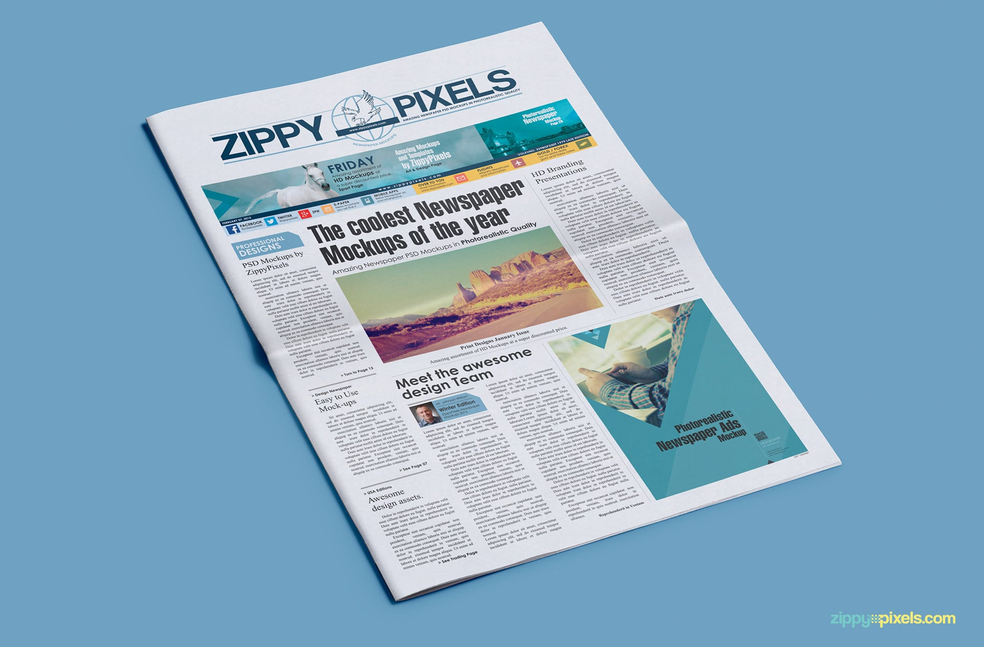 Newspaper PSD mockup with banner ad and small ⅓ page 2 column ad