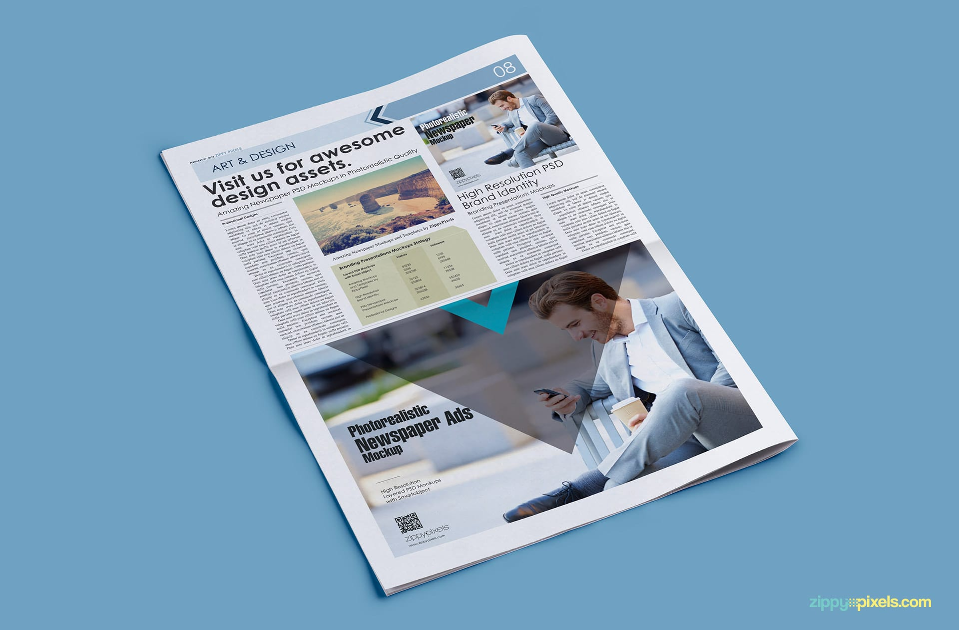 PSD mockups showing tabloid newspaper with half page horizontal ad