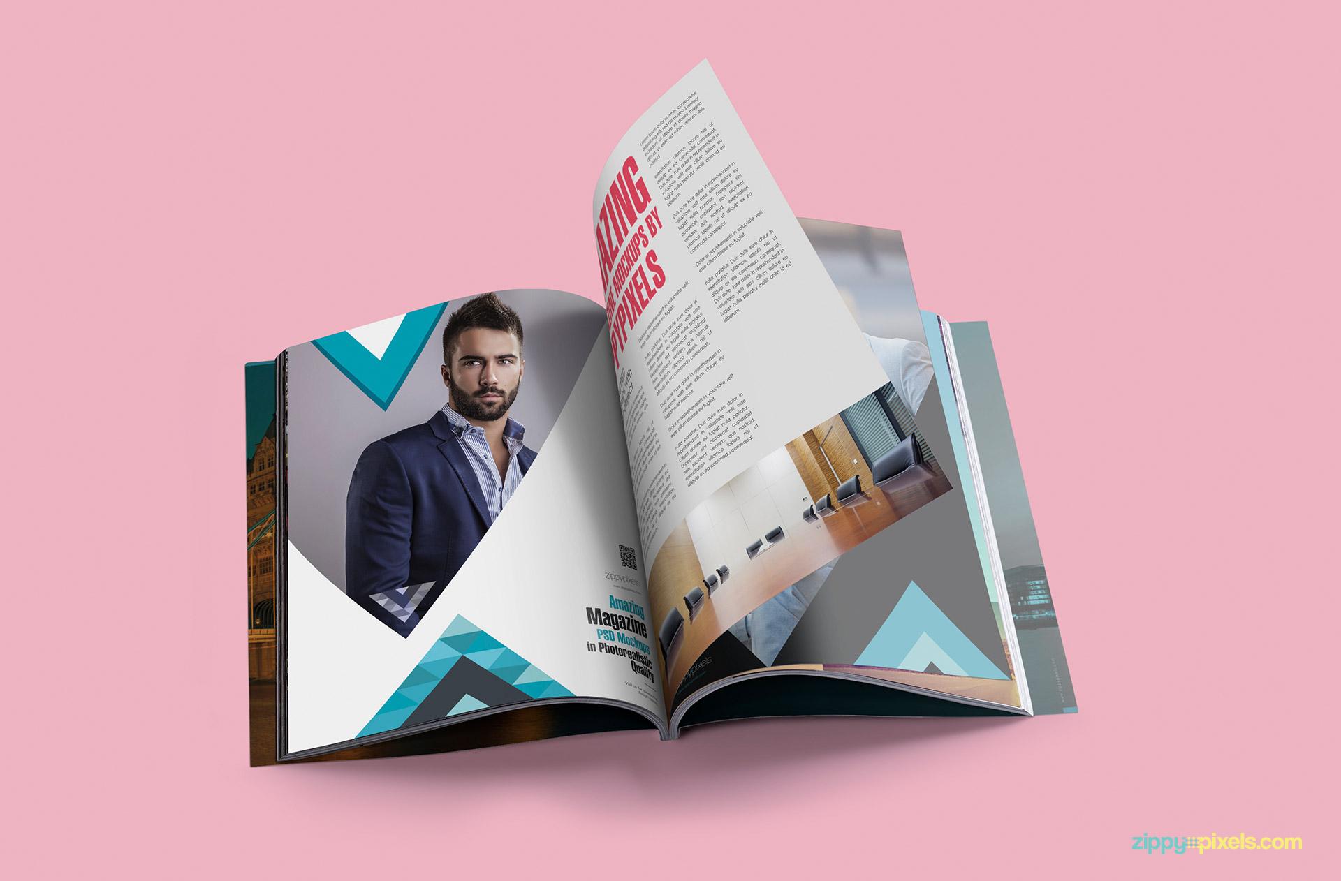 Photorealistic Magazine mockup inside pages