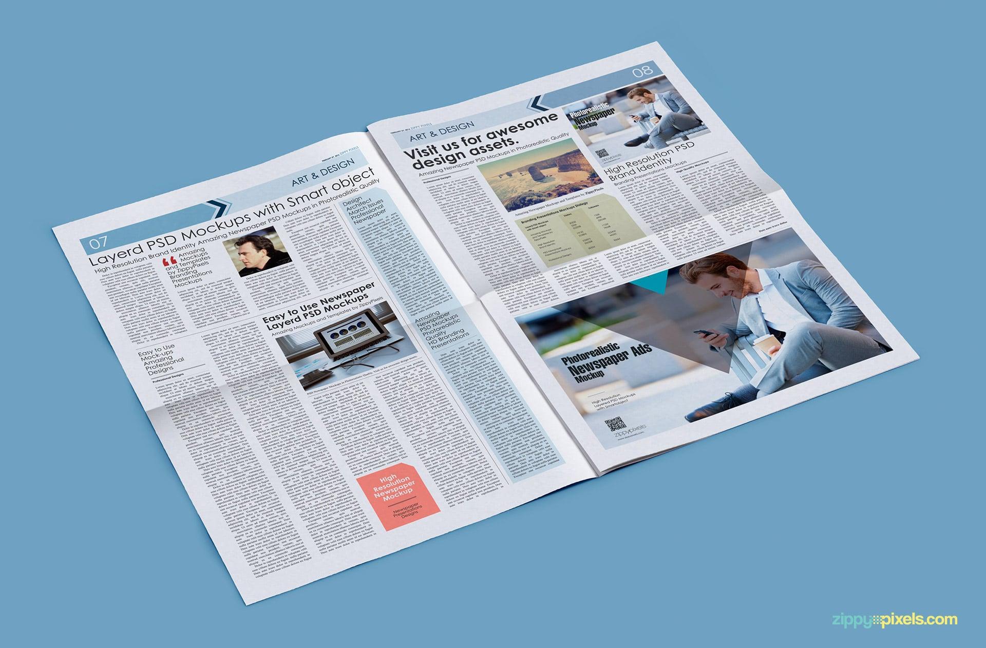 "High angle pose of tabloid newspaper mockup with (5x6.29"") horizontal ad"