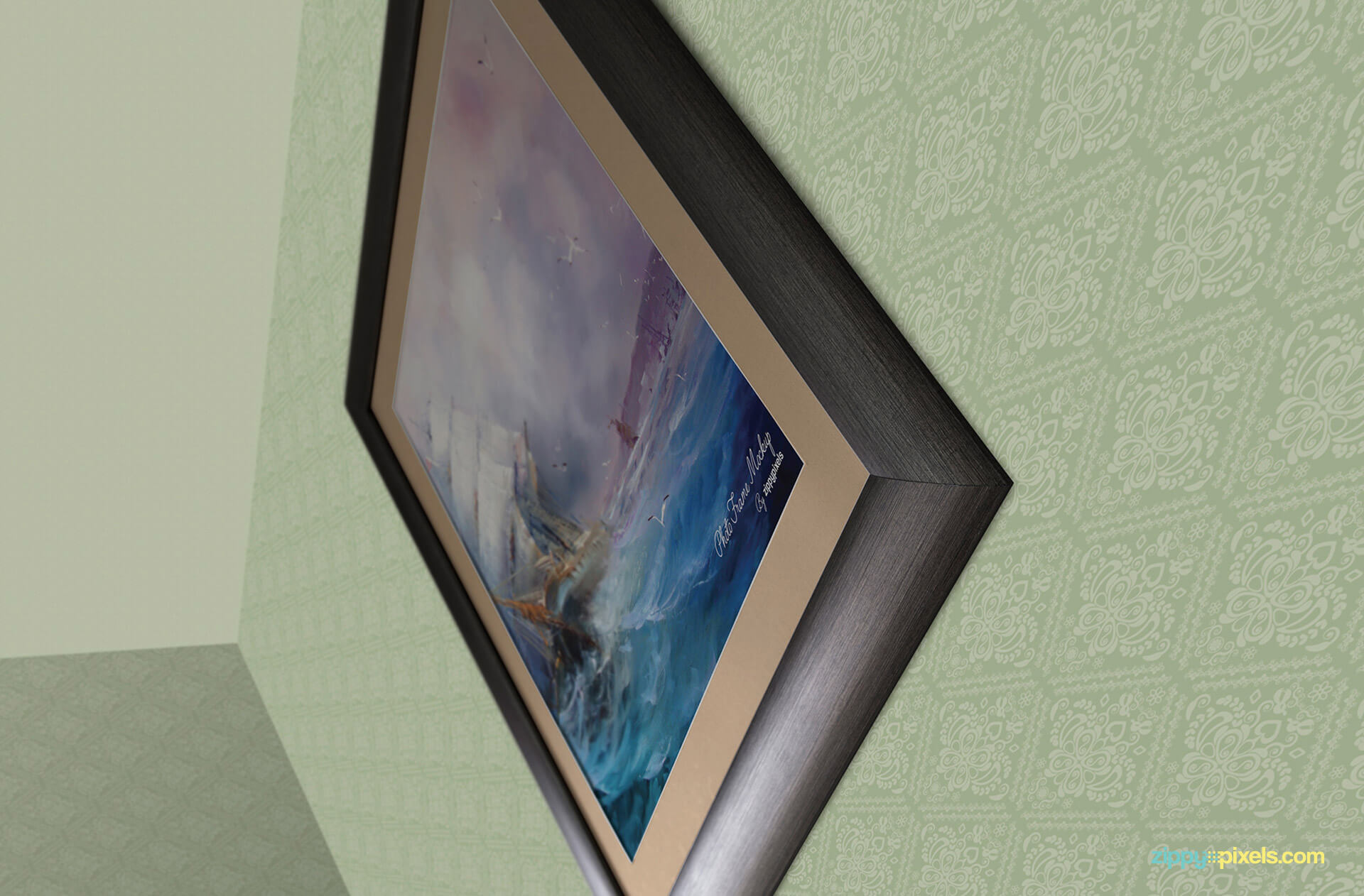 Photo frame mockup with customizable frame and wall