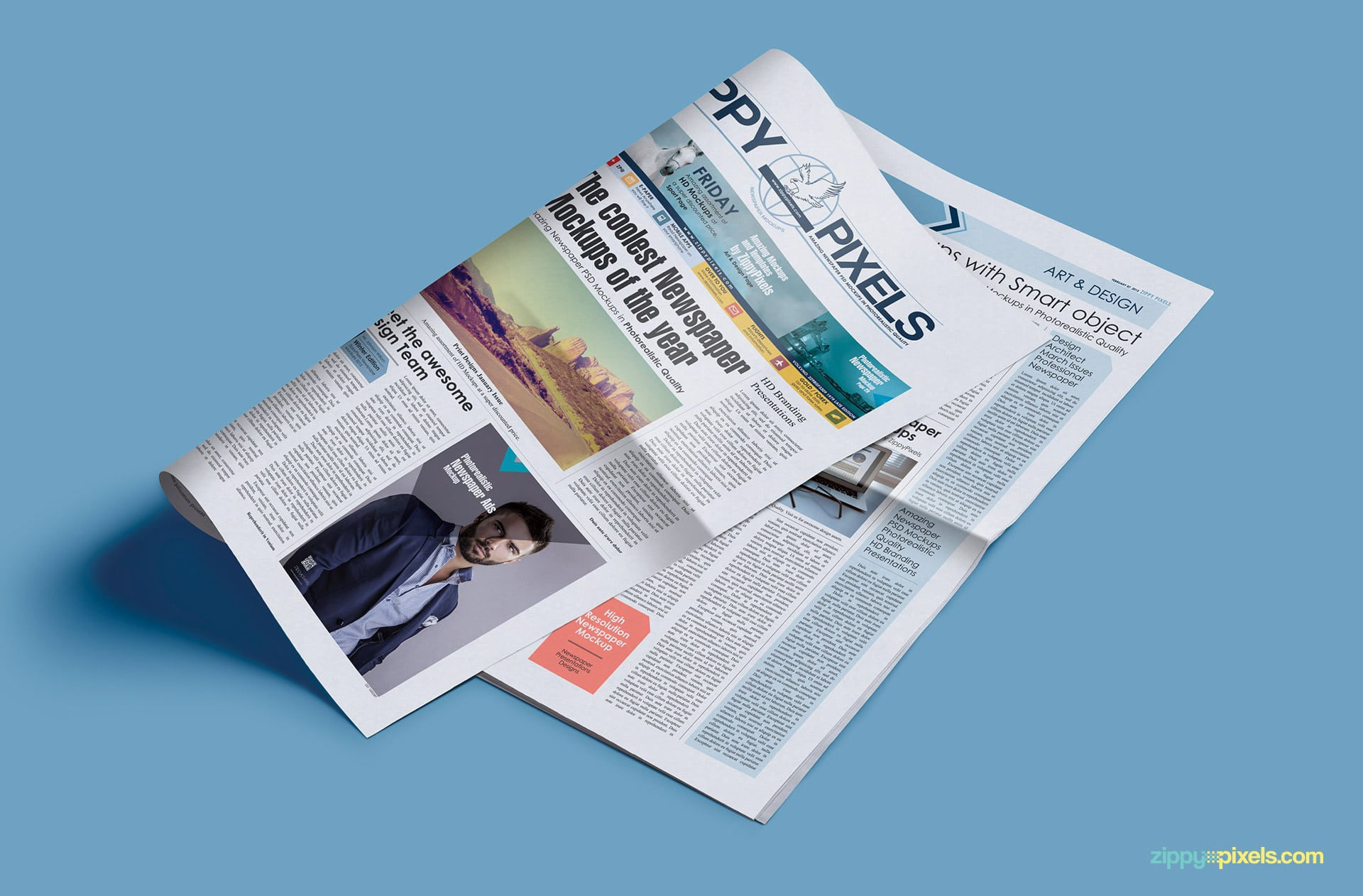 Photorealistic newspaper mockups showing turned page with (2col x 5.69in) small ad