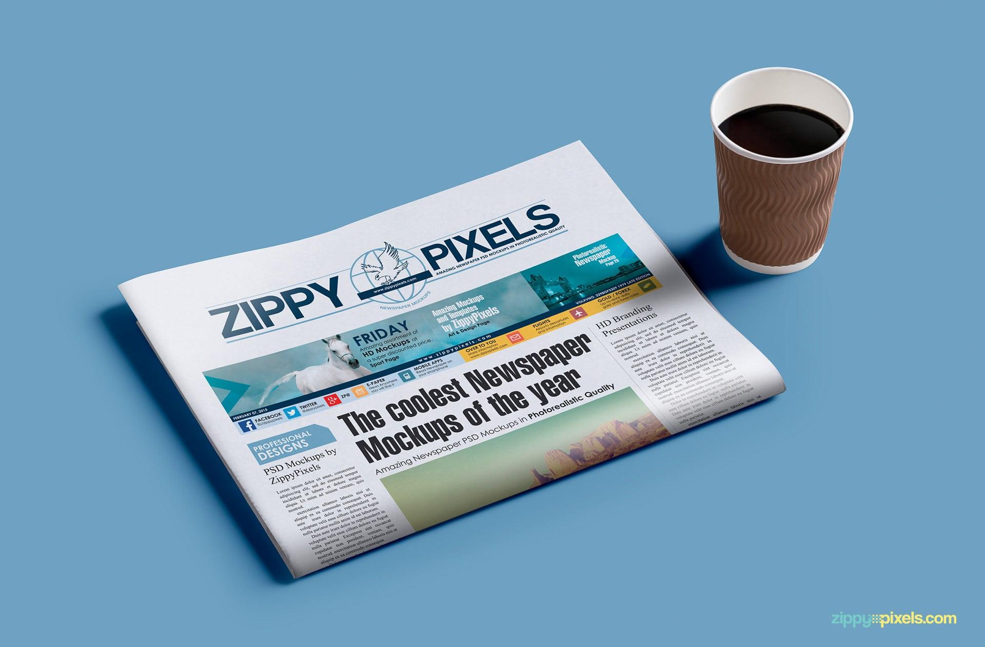 Newspaper mockups of a half-folded newspaper with coffee