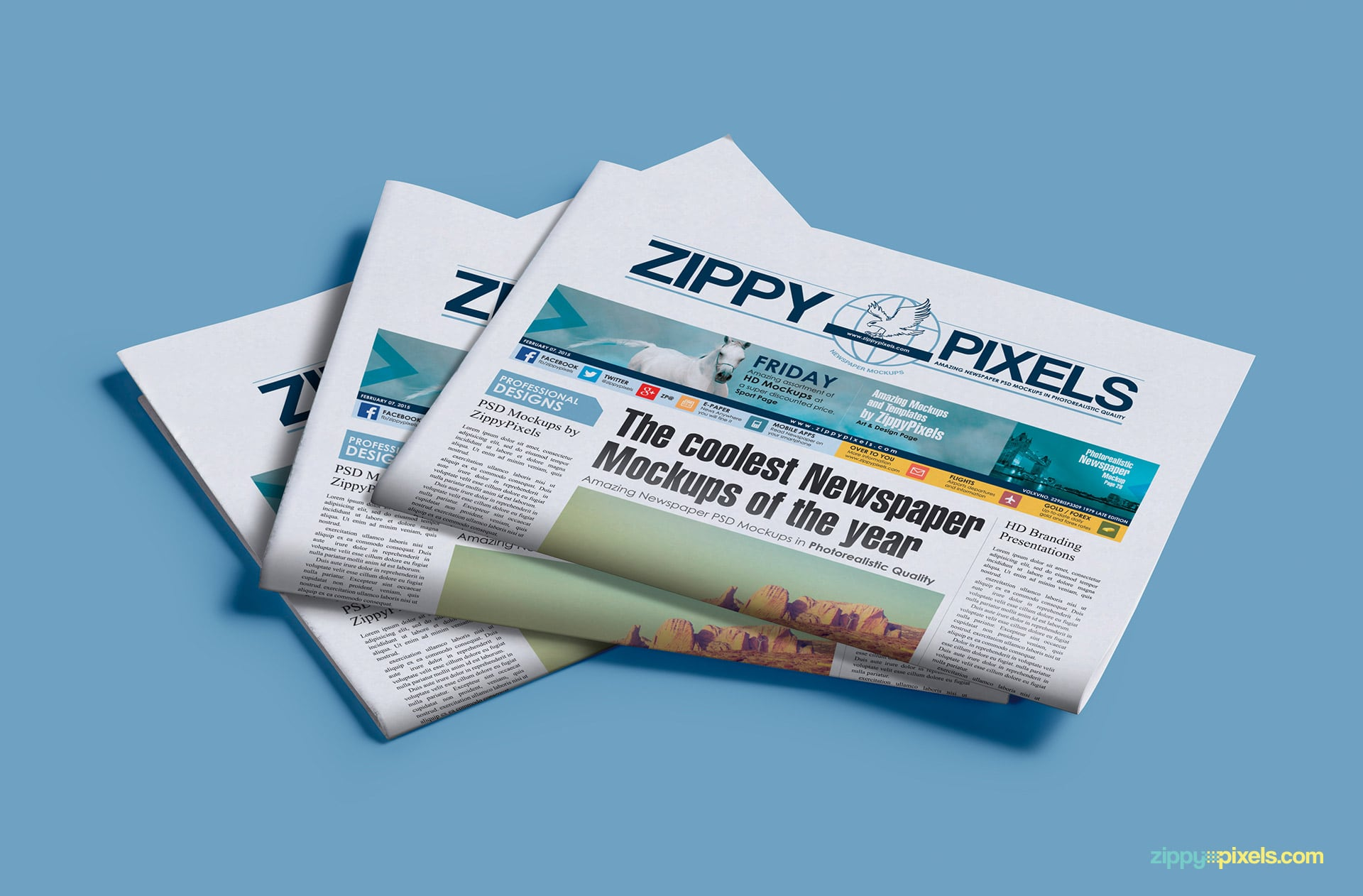 Photorealistic mockup of stack of 3 half folded newspapers with banner ads
