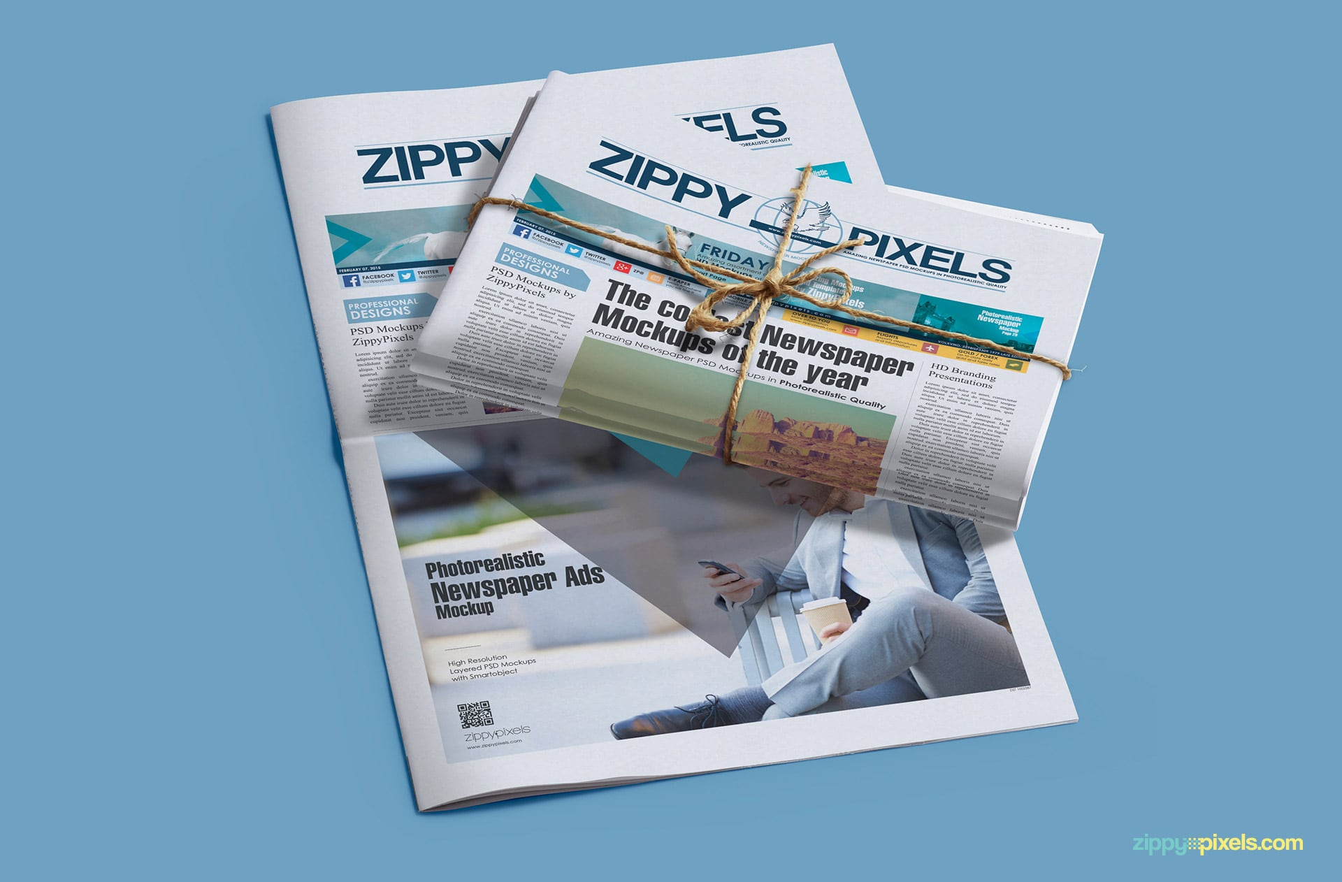 Photorealistic mockup of newspaper bundle and opened newspaper with full page and banner ad