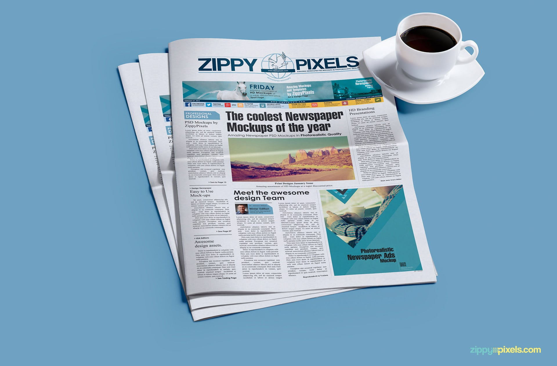 Tabloid newspaper mockup with (2x5.69 col in) ad display & a cup of tea