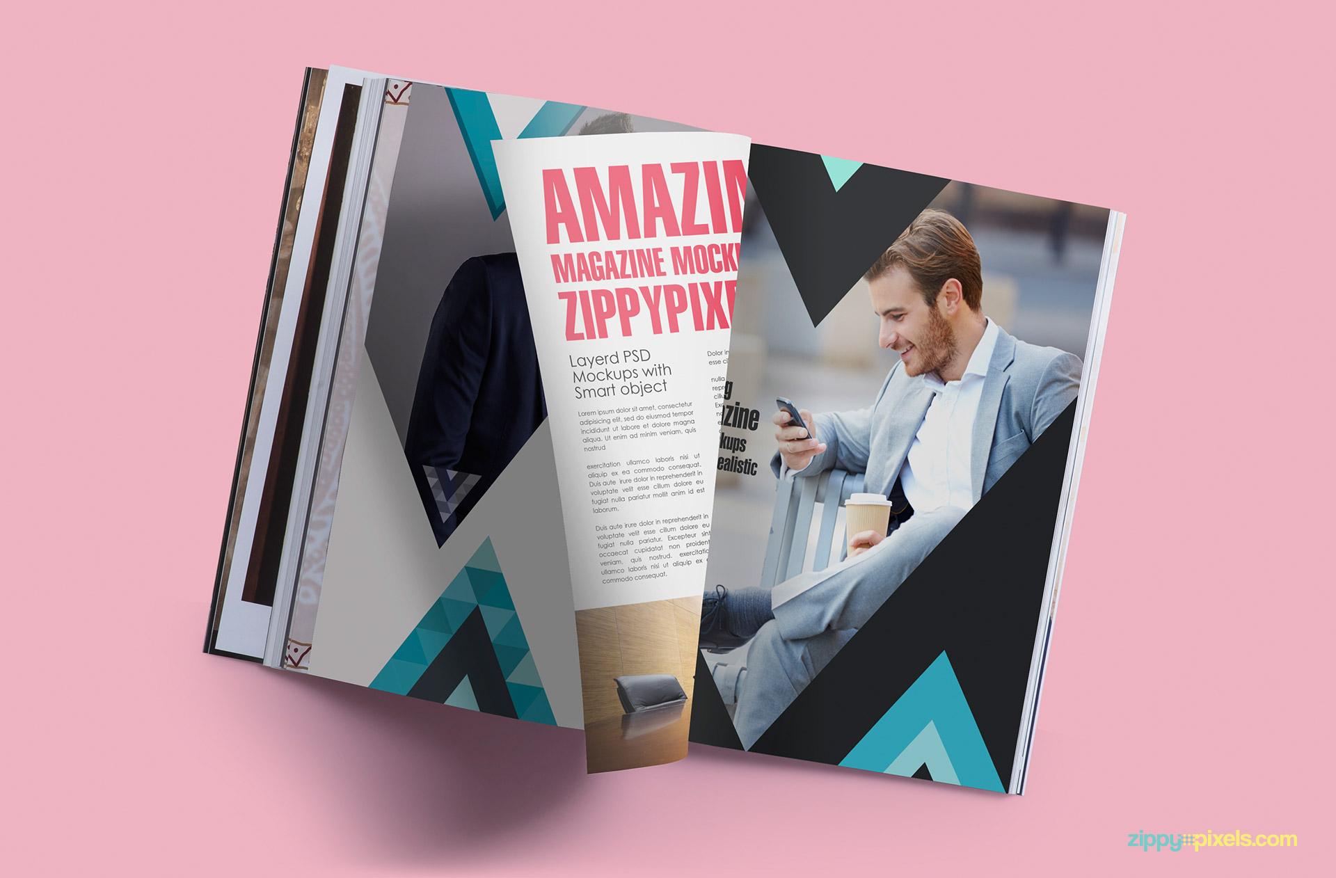 Photorealistic magazine mockup of turning pages
