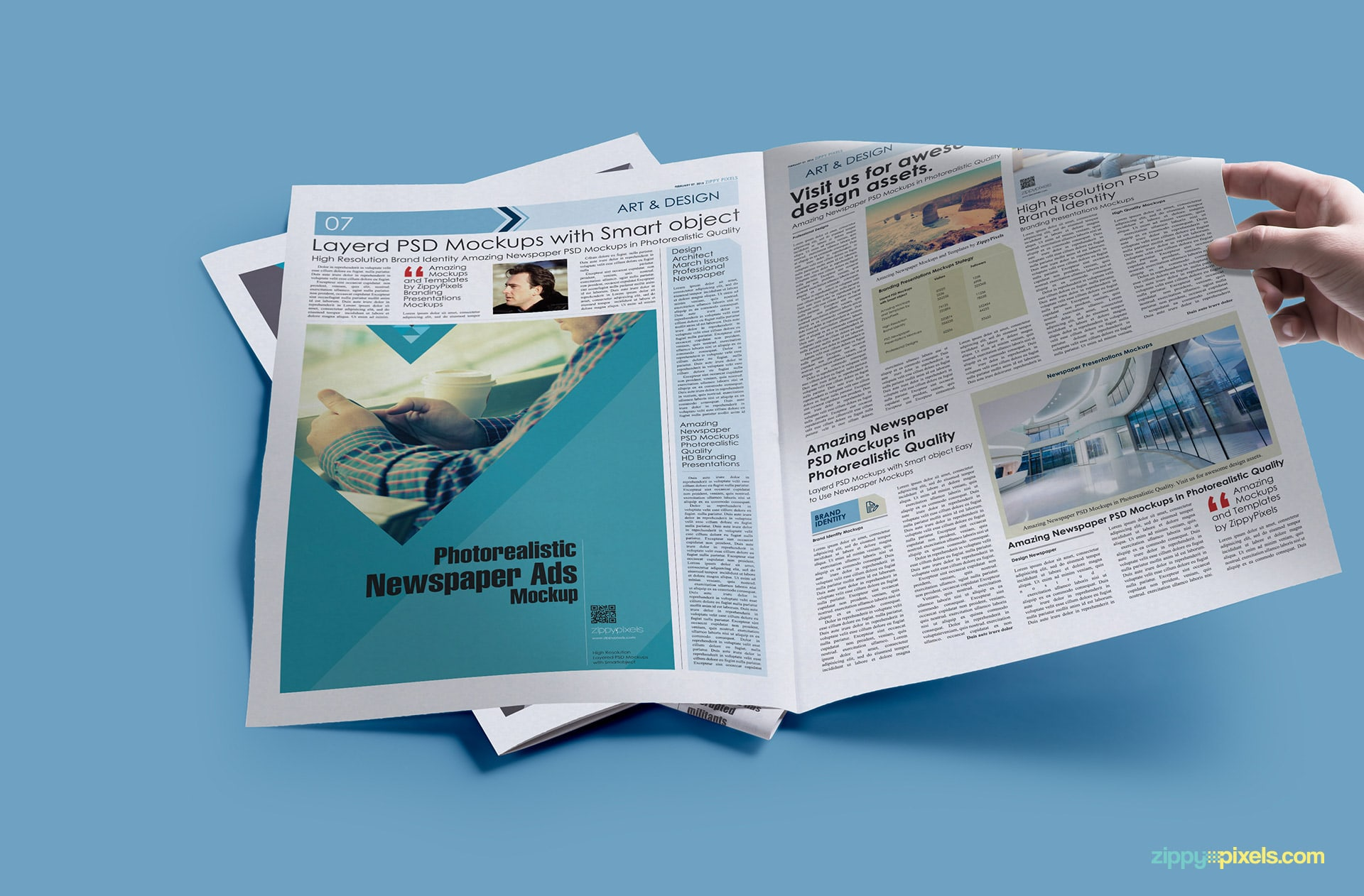 Newspaper mockup with hand- full spread newspaper displaying Large Ad(4x11.83 col in)