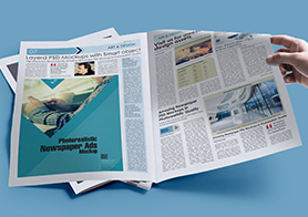 Customizable newspaper psd mockup with customizable background