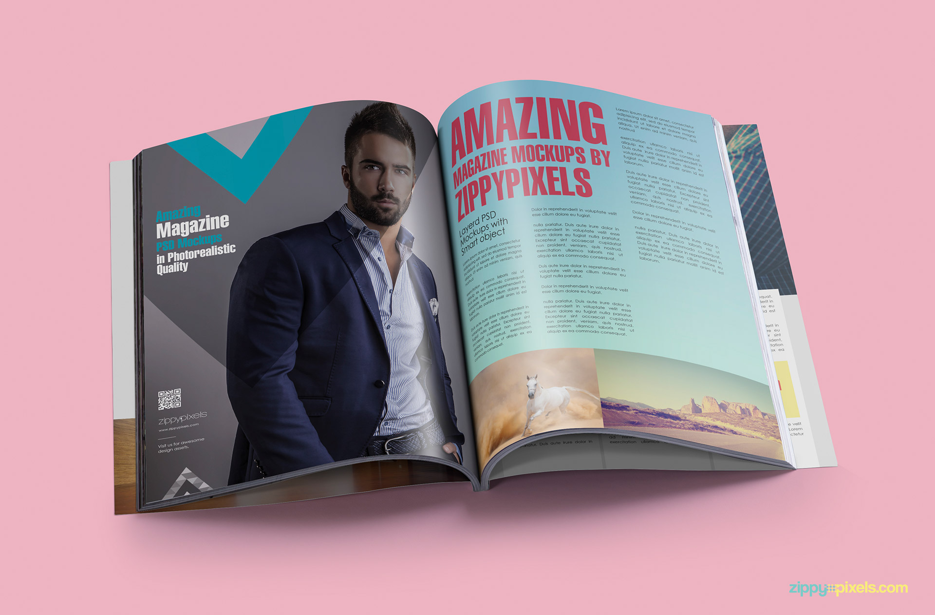 Photorealistic opened magazine mockup