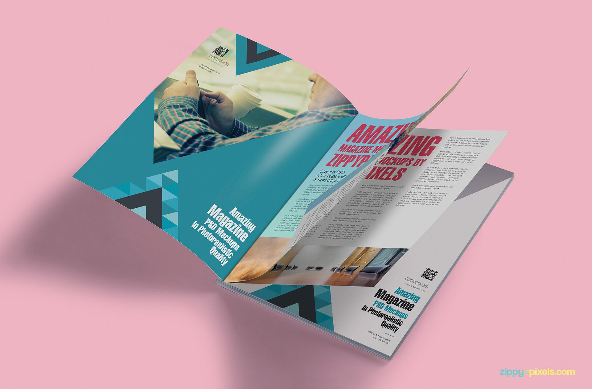 Magazine mockups showing angled view of opened magazine