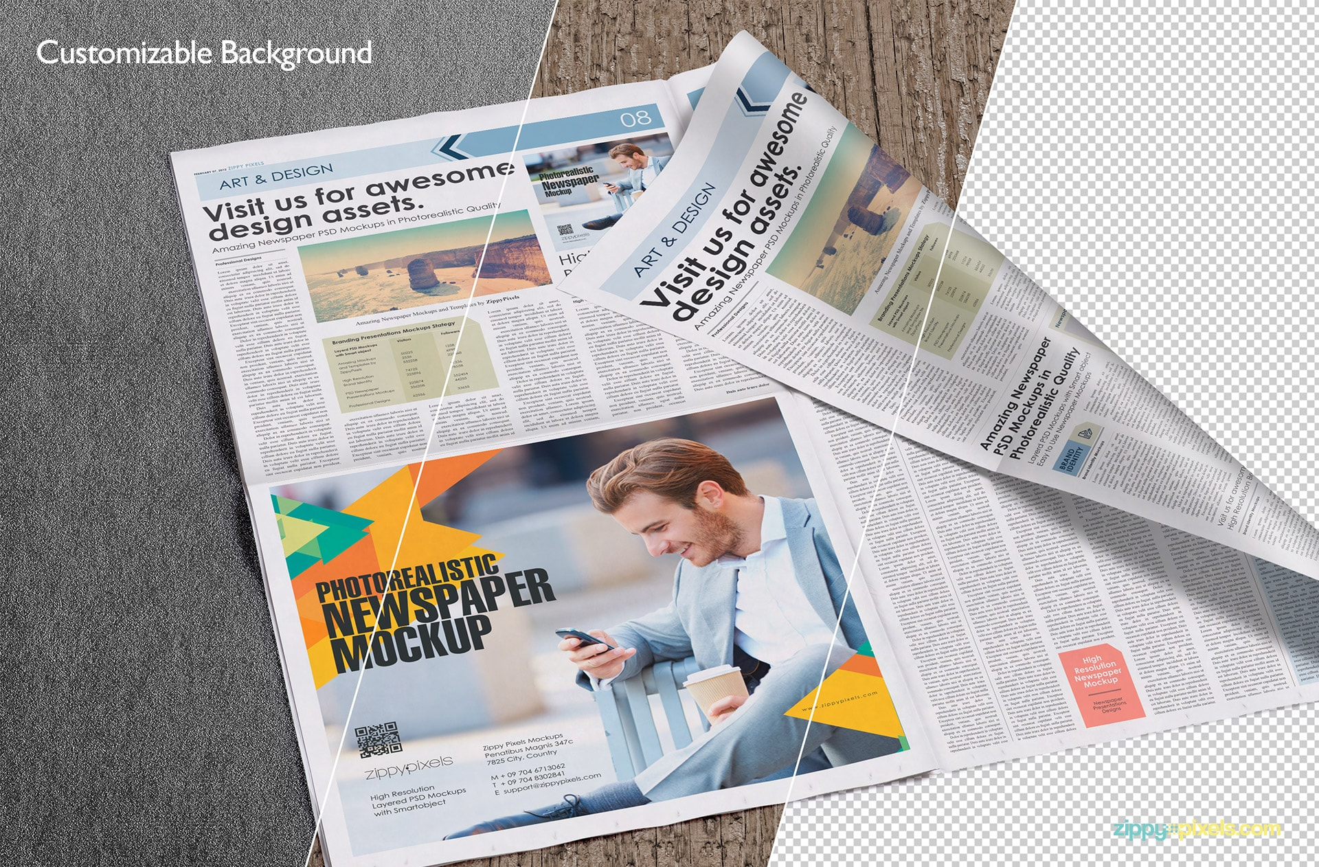 Broadsheet Newspaper Mockups for Advertising & Newspaper Designs with Customizable Background