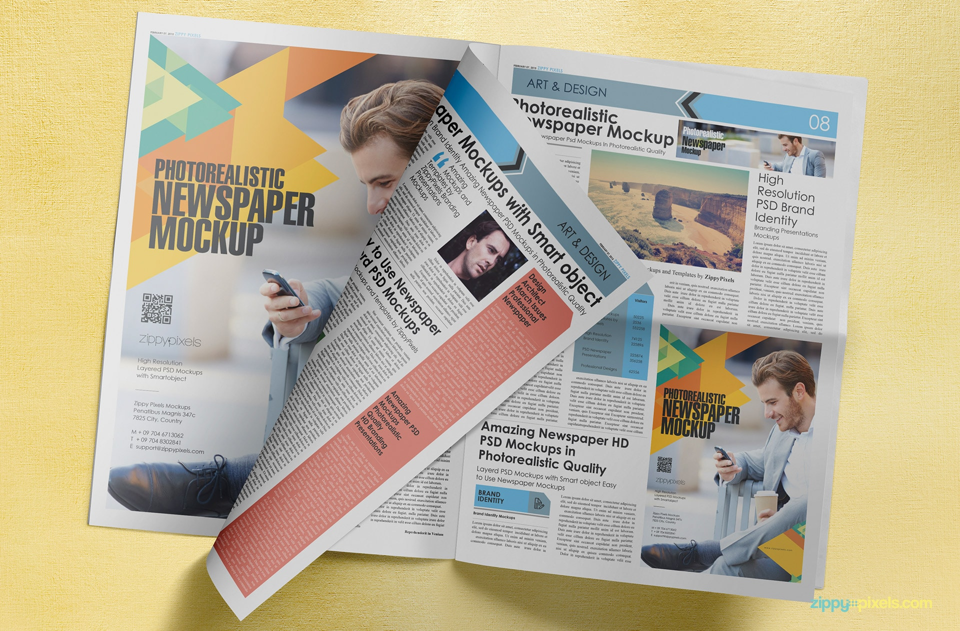 full spread tabloid newspaper mockup lying flat showing 3 pages & a quarter page ad