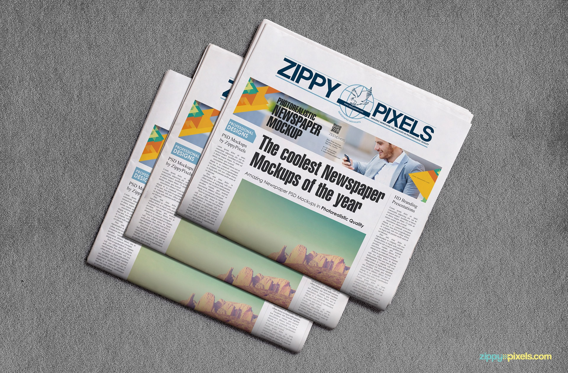 Trio of folded broadsheet newspaper lying flat to show newspaper & ad designs with editable background
