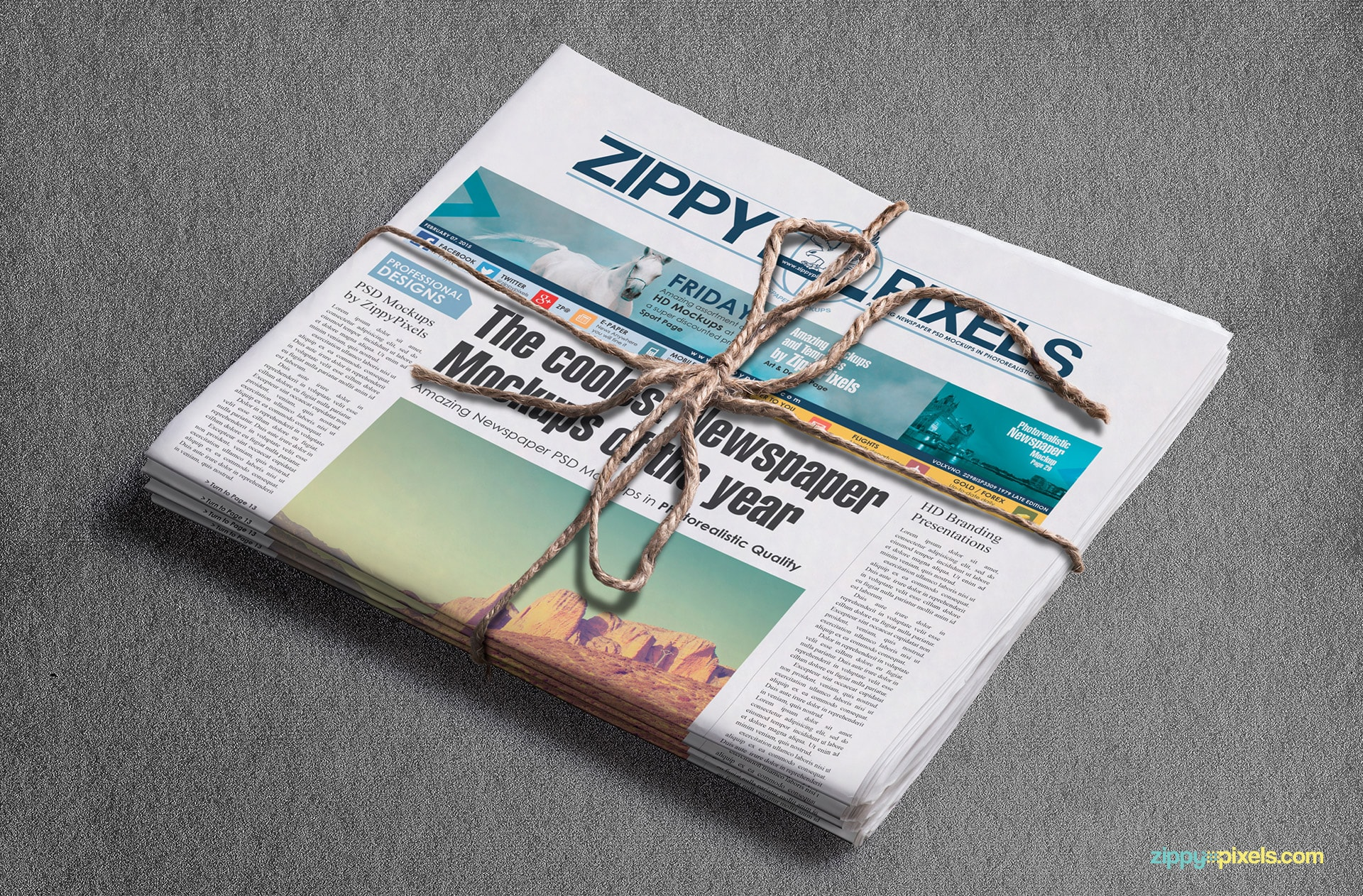 Newspaper mockups showing bundle of newspaper with banner ad with customizable background