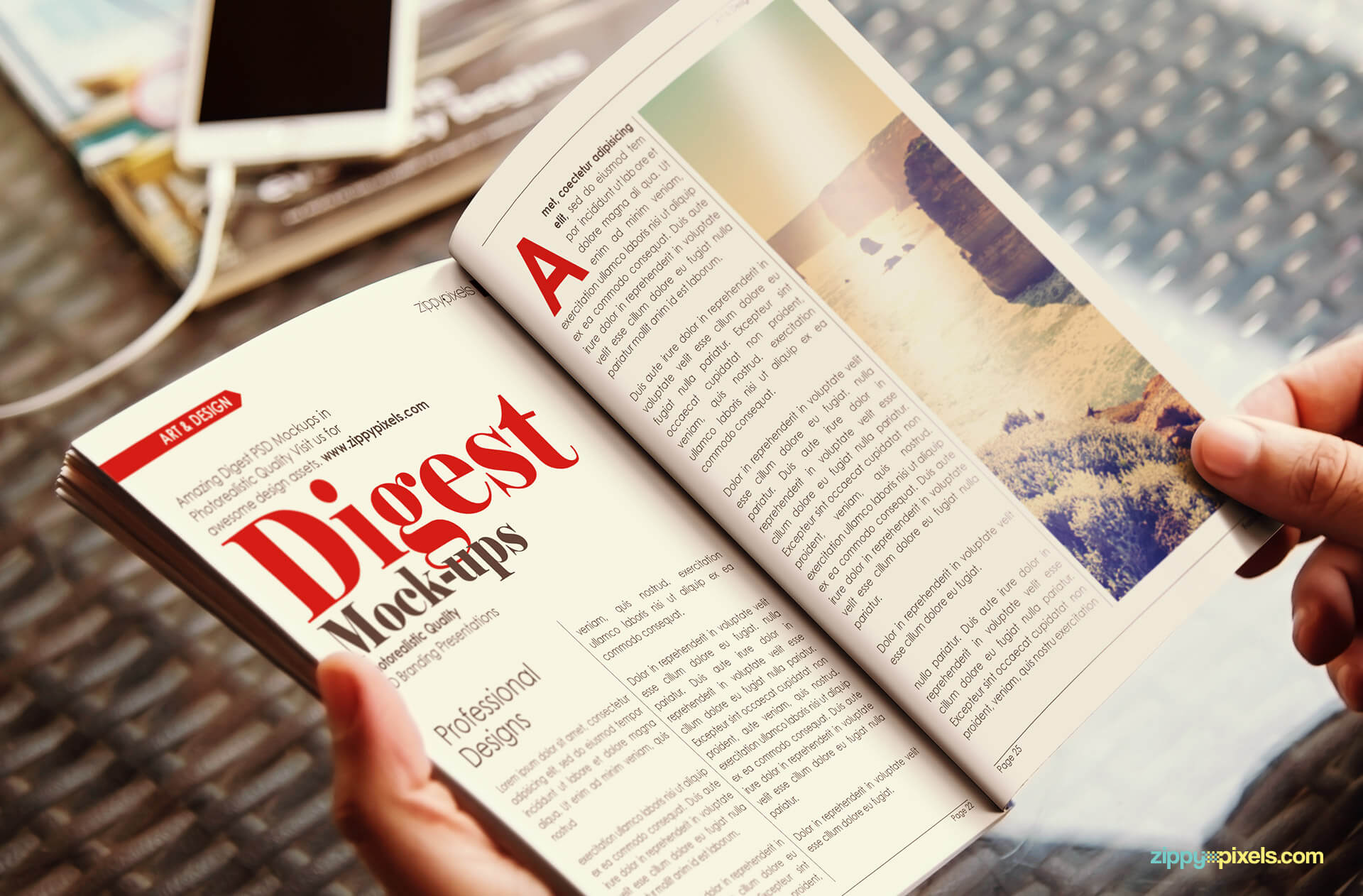 mockup depicting person reading open paperback digest showing inner pages