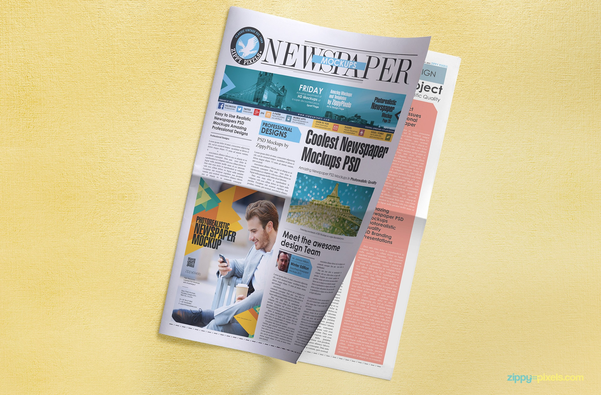 PSD Mockup showing front page of tabloid newspaper giving view of a quarter page ad space and peak at inner page
