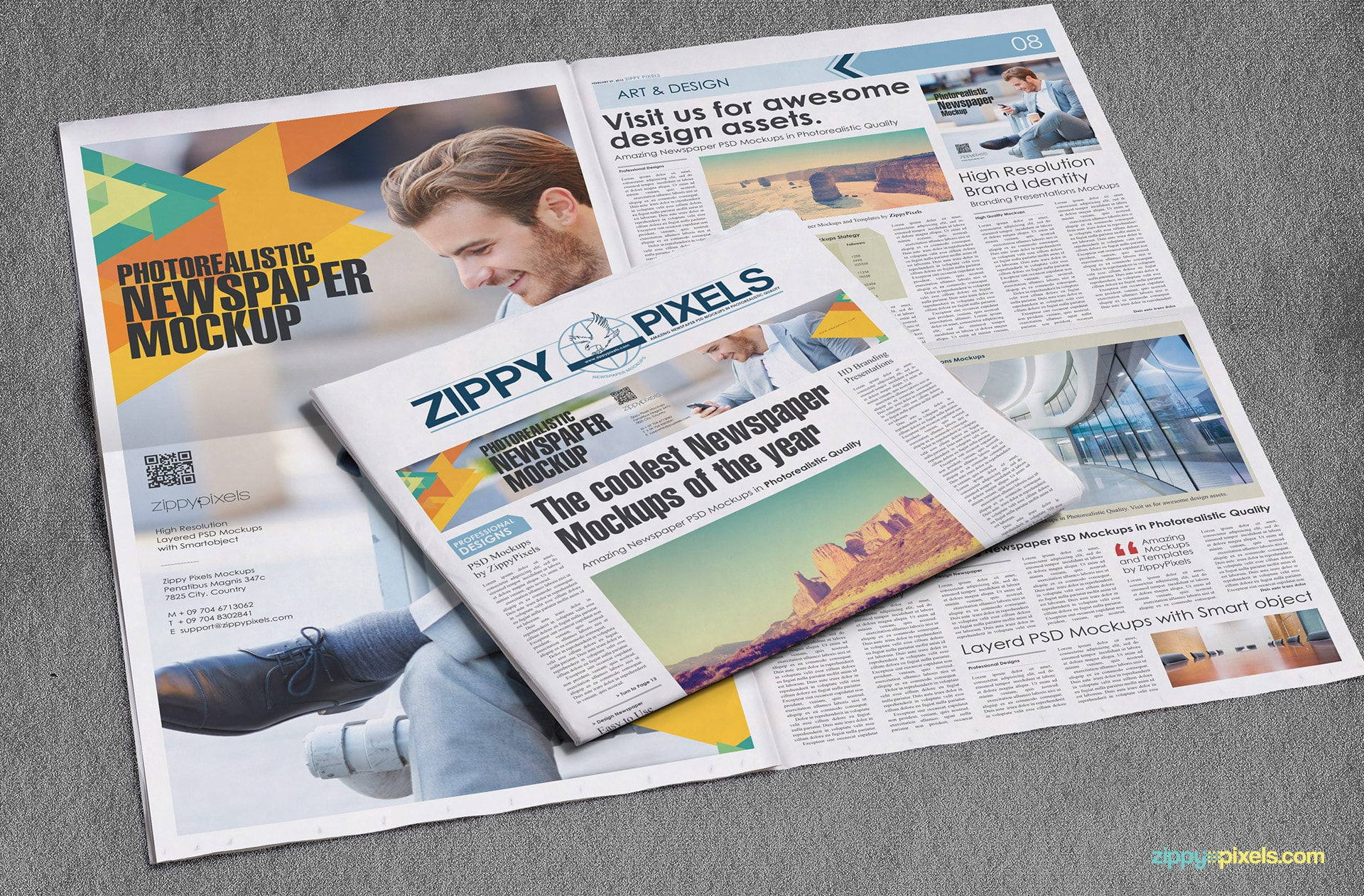 Newspaper mockup showing a full spread broadsheet newspaper & half-fold newspaper with full page & banner ads