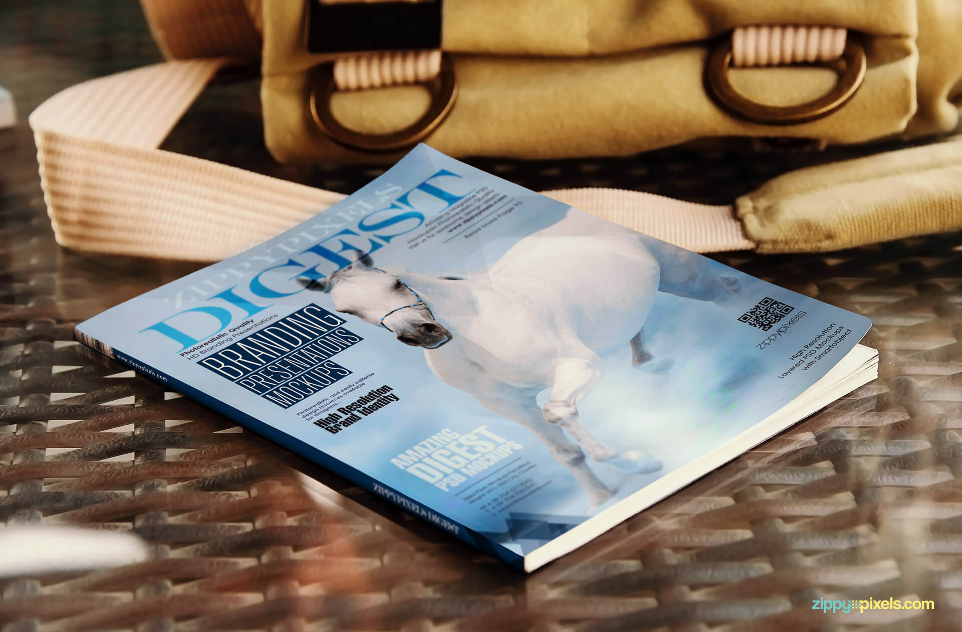 Front cover digest size magazine mockup lying flat on table