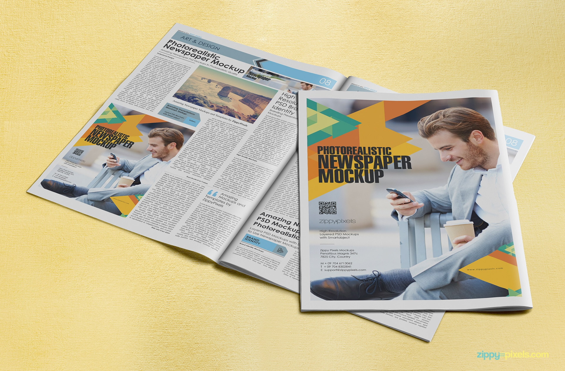Newspapers advertising mockup with full page and quarter page ad display