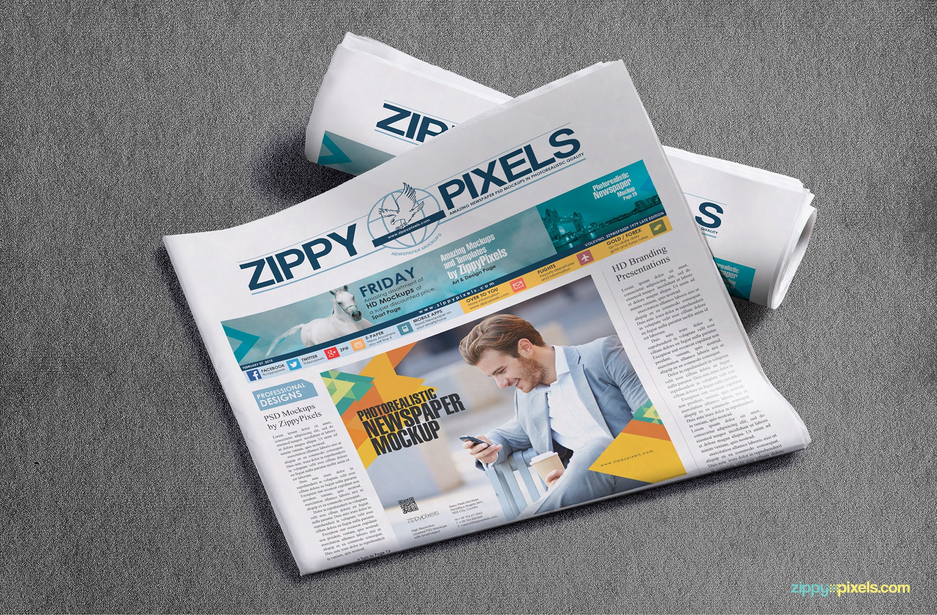 Showcase your newspaper or advertisement design with Half-folded broadsheet newspaper lying on newspaper roll
