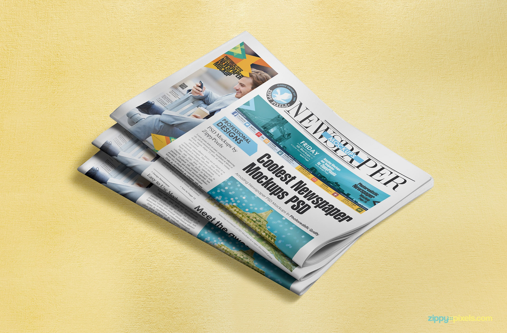 Stack of half-fold newspaper lying on showing a single column ad and a banner ad