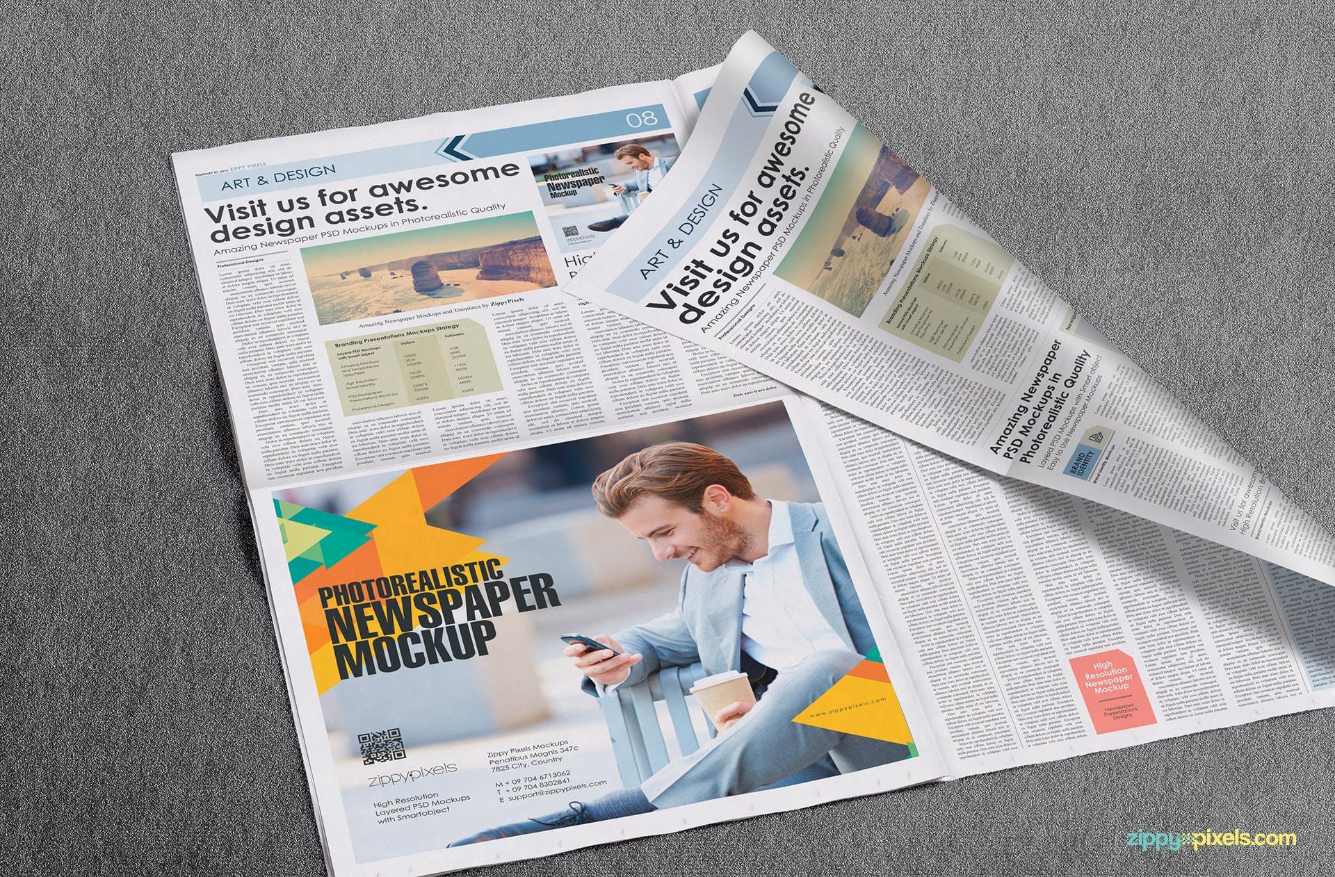 Beautiful closeup view of half page ad on opened broadsheet newspaper