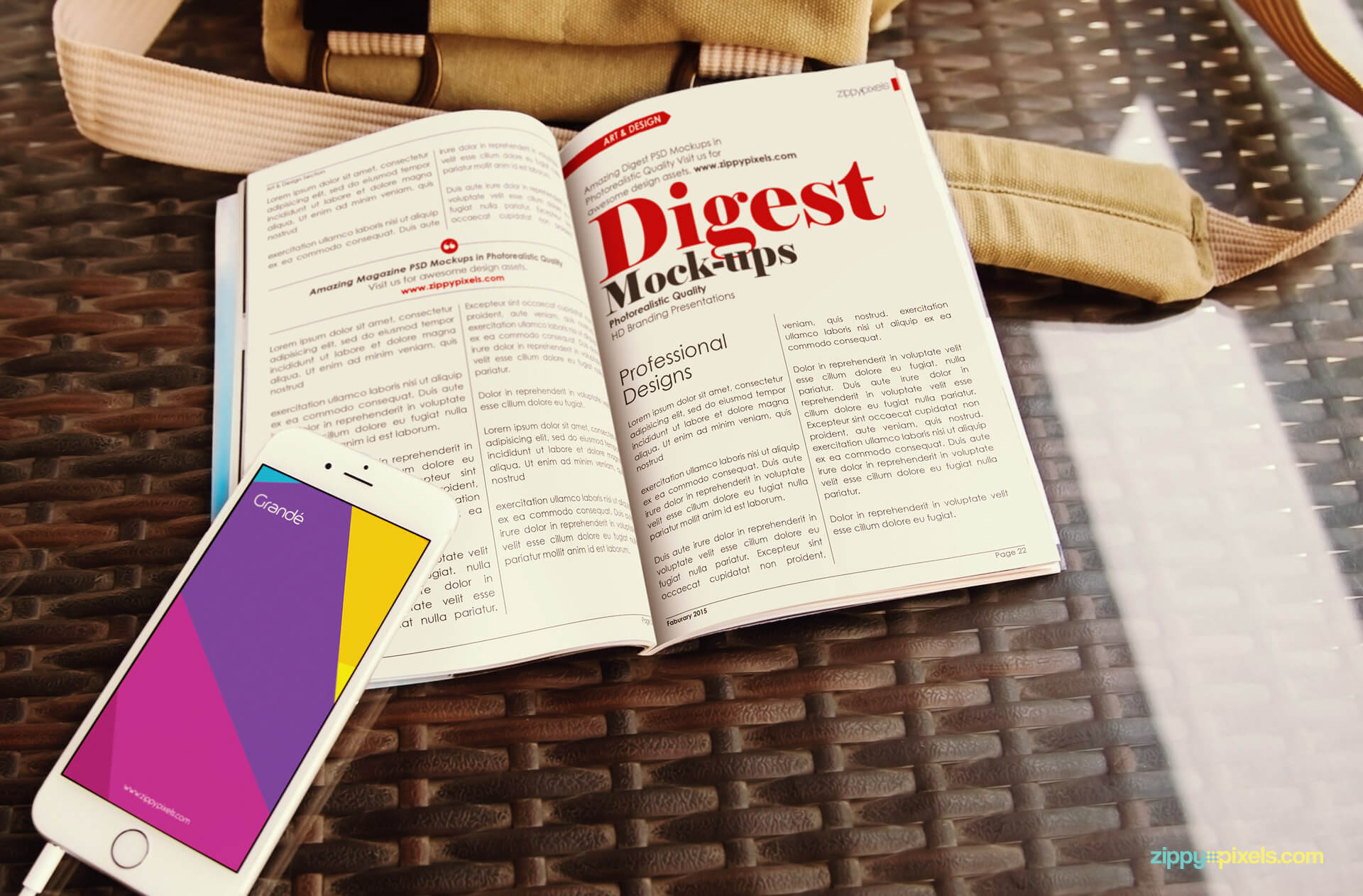 iPhone & opened digest magazine mockup showing iPhone & digest lying on table
