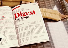 Photorealistic Digest-size Magazine Mockups Vol. 3 [12 PSD Mockups]
