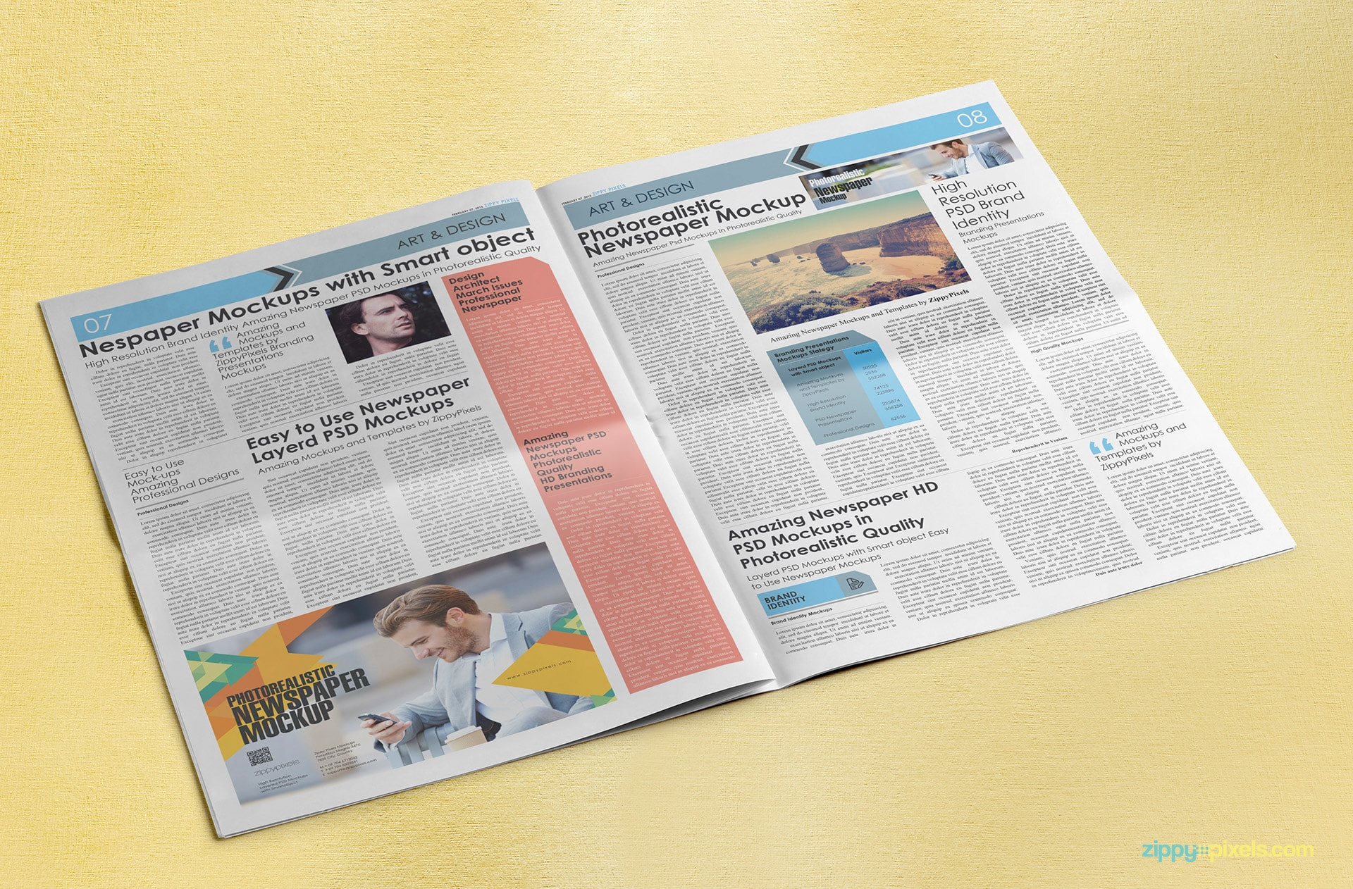 Full spread compact/tabloid newspaper mockup with a 3 column ⅓ page advertisement display