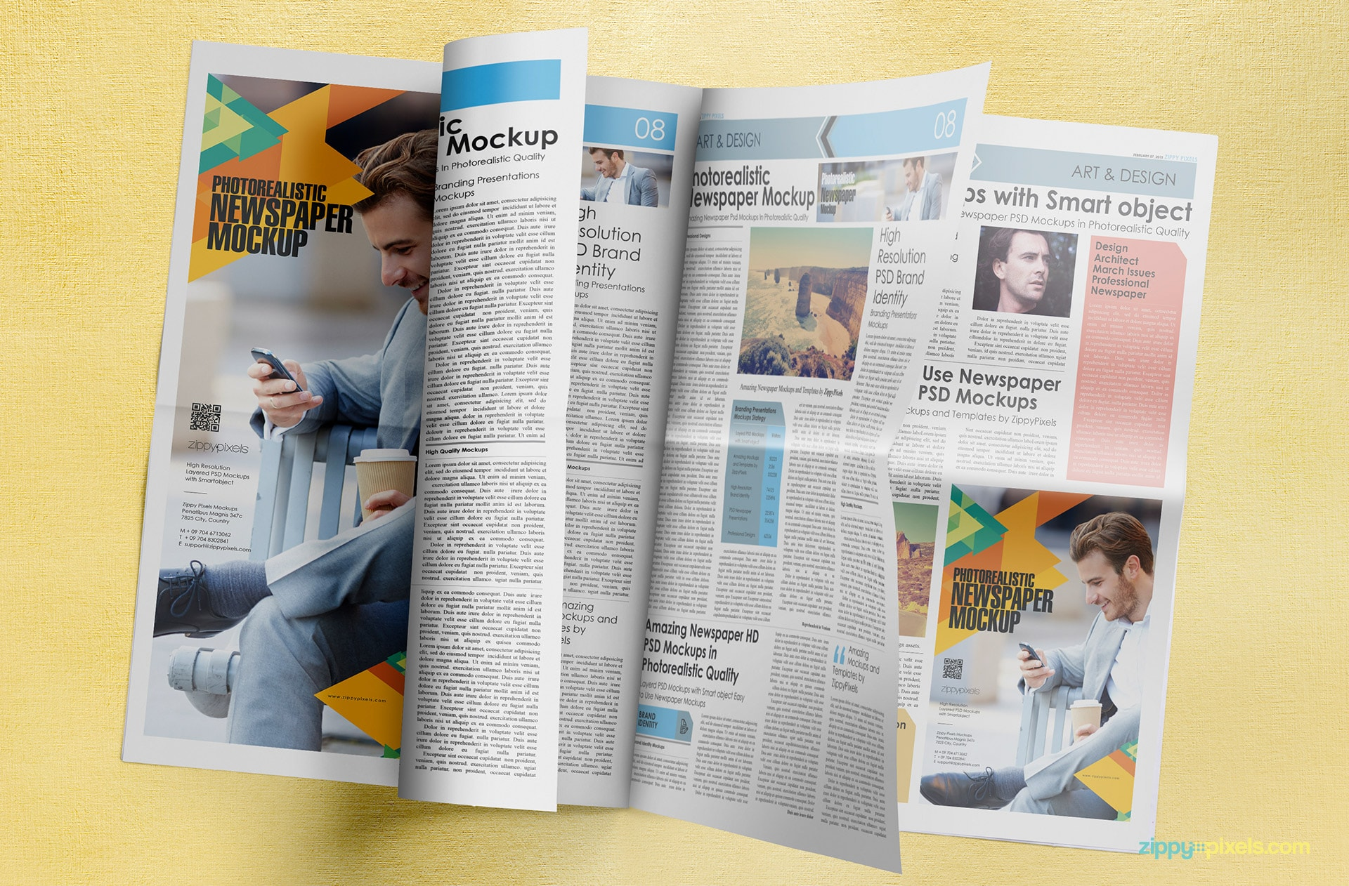 Amazing mockup of turning newspaper pages with large ad & full page ad