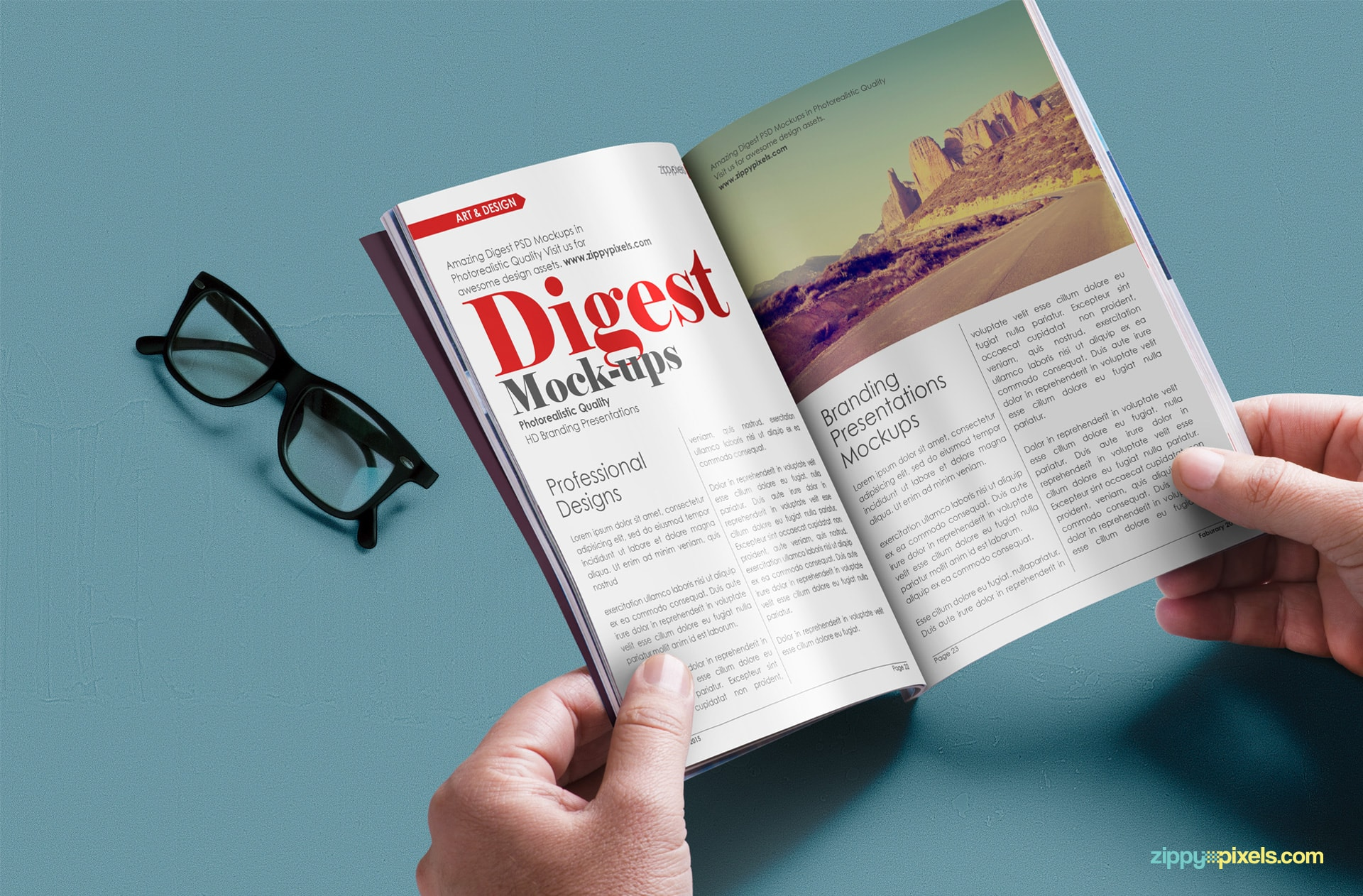 Free photorealistic paperback digest mockup for showcasing ad or page designs