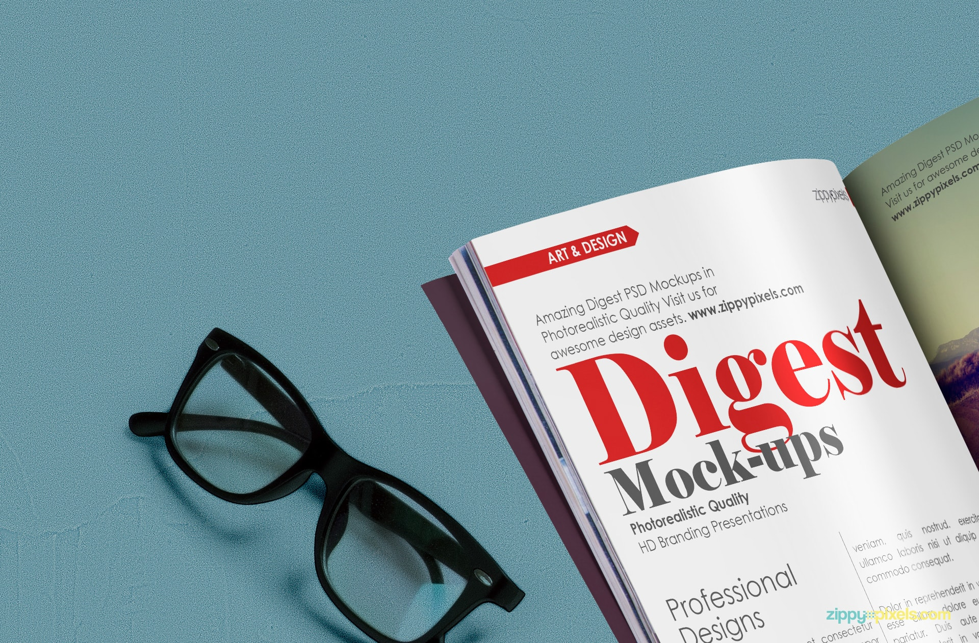 Closeup view of free magazine digest mockup showing glasses and inner pages& inner page designs