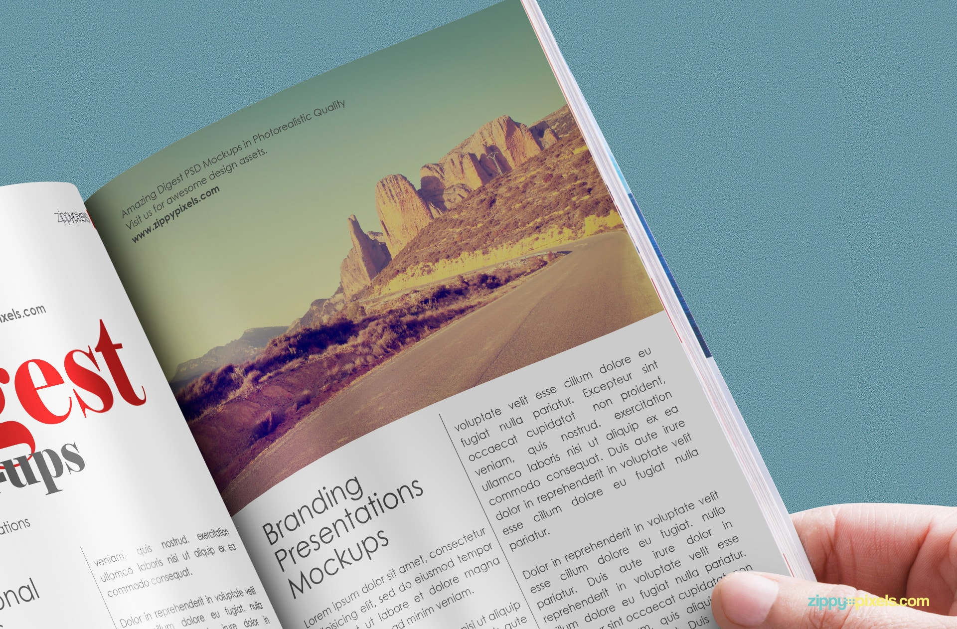 freebie psd mockup of paperback digest