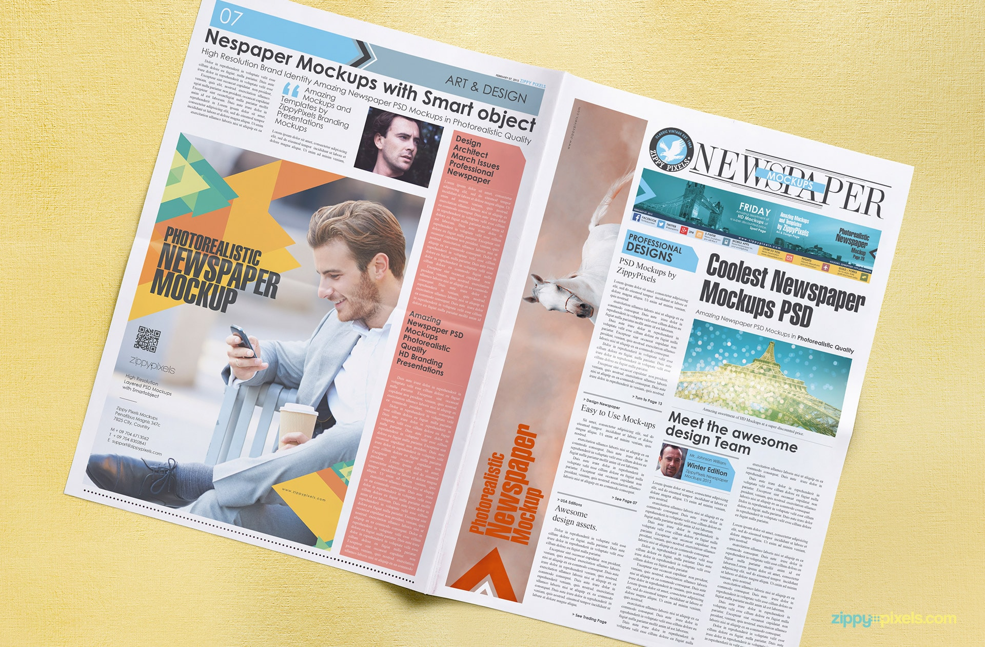 High angle shot of tabloid newspaper mockup with full column ad & large ad