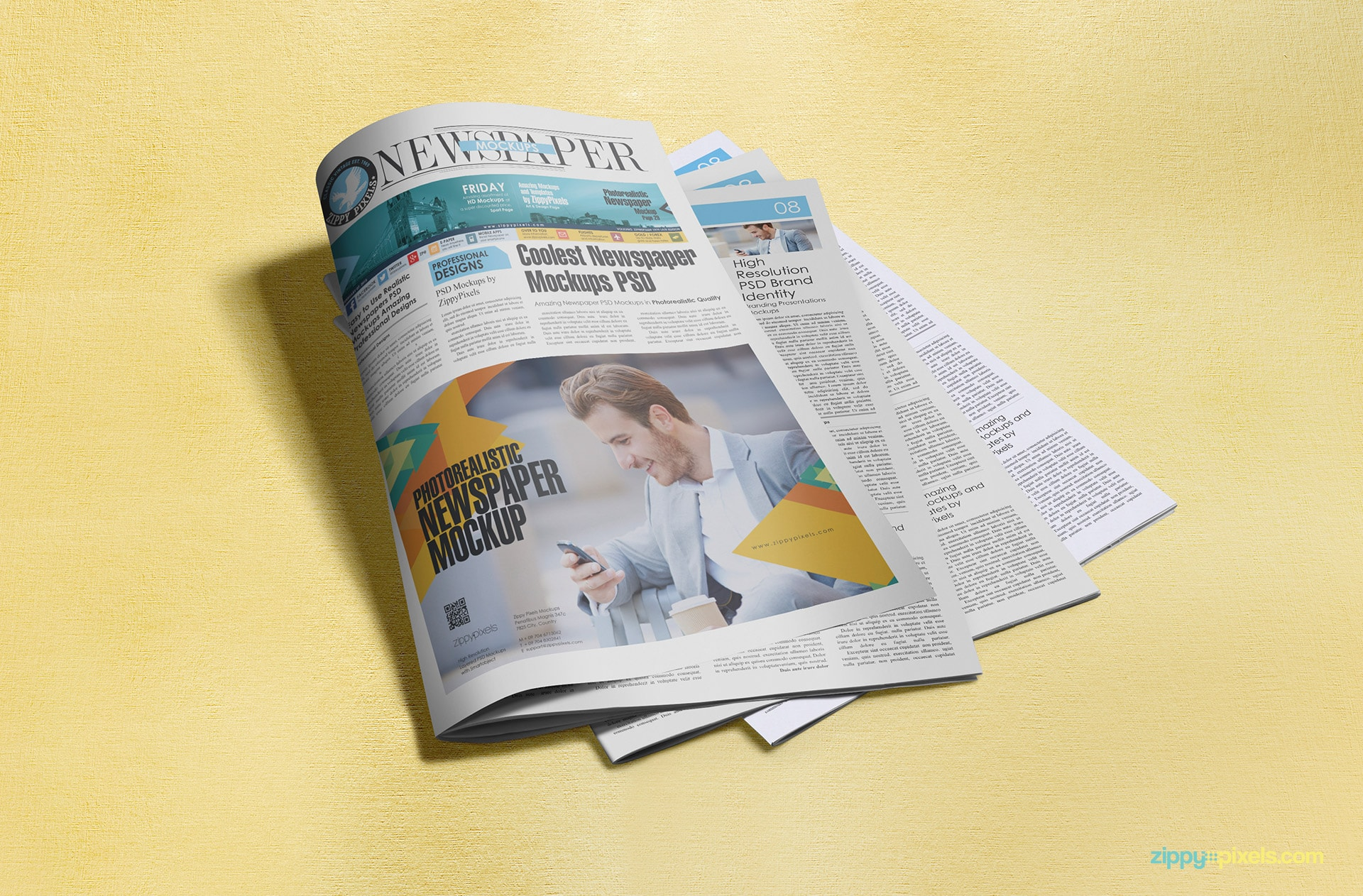 Half page newspaper advertisement displaying on newspaper PSD mockup