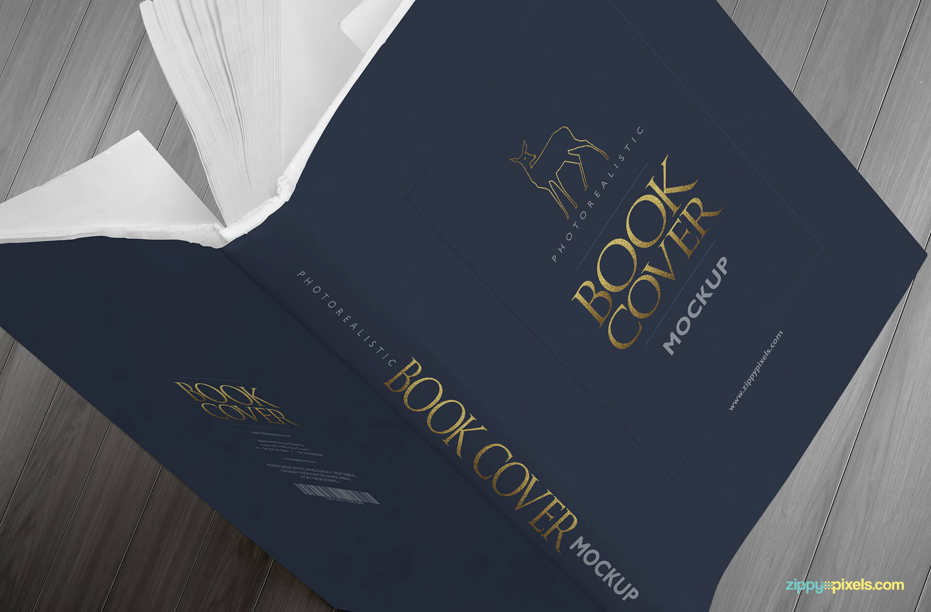 Realistic book mockup showing a book cover design in a ductch angle view
